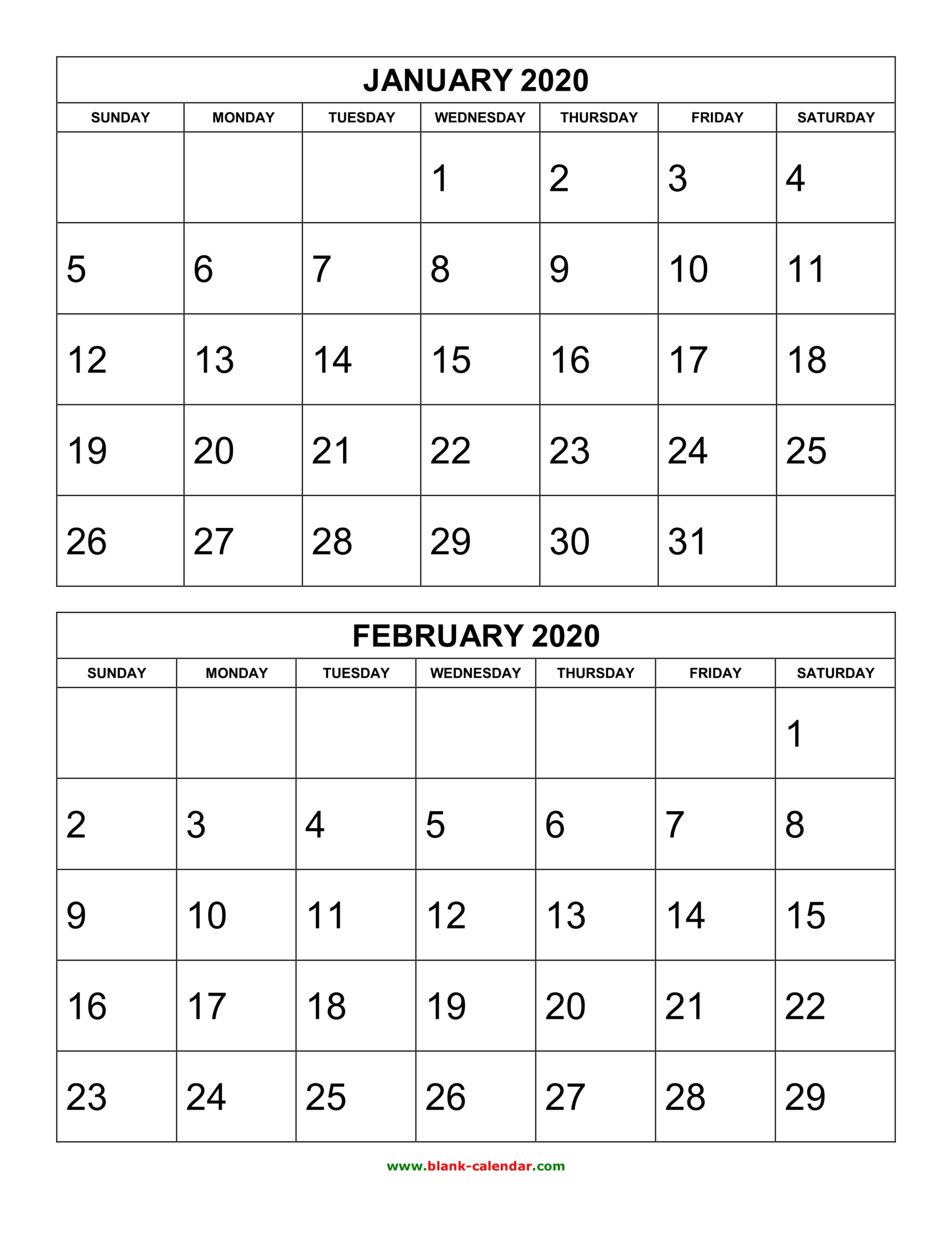 Free Download Printable Calendar 2020 2 Months Per Page 6