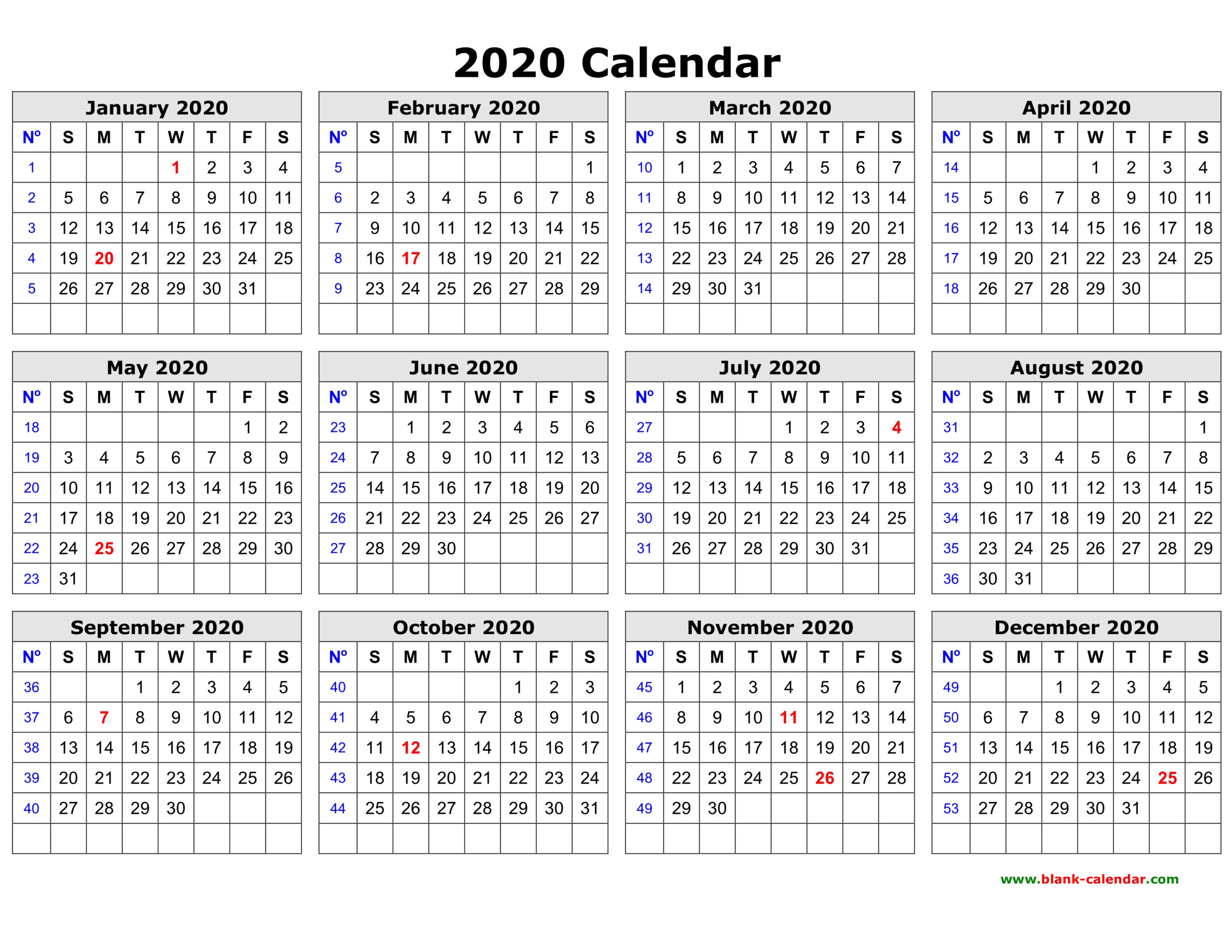 Free Download Printable Calendar 2020 In One Page Clean Design.
