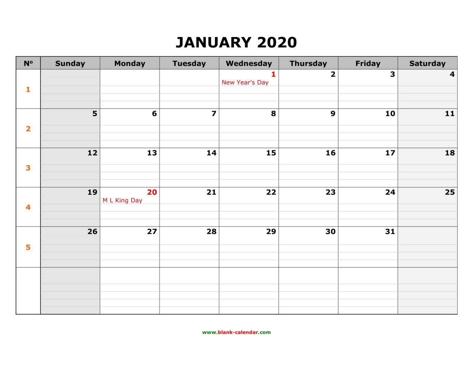 Free Download Printable Calendar 2020 Large Box Grid Space
