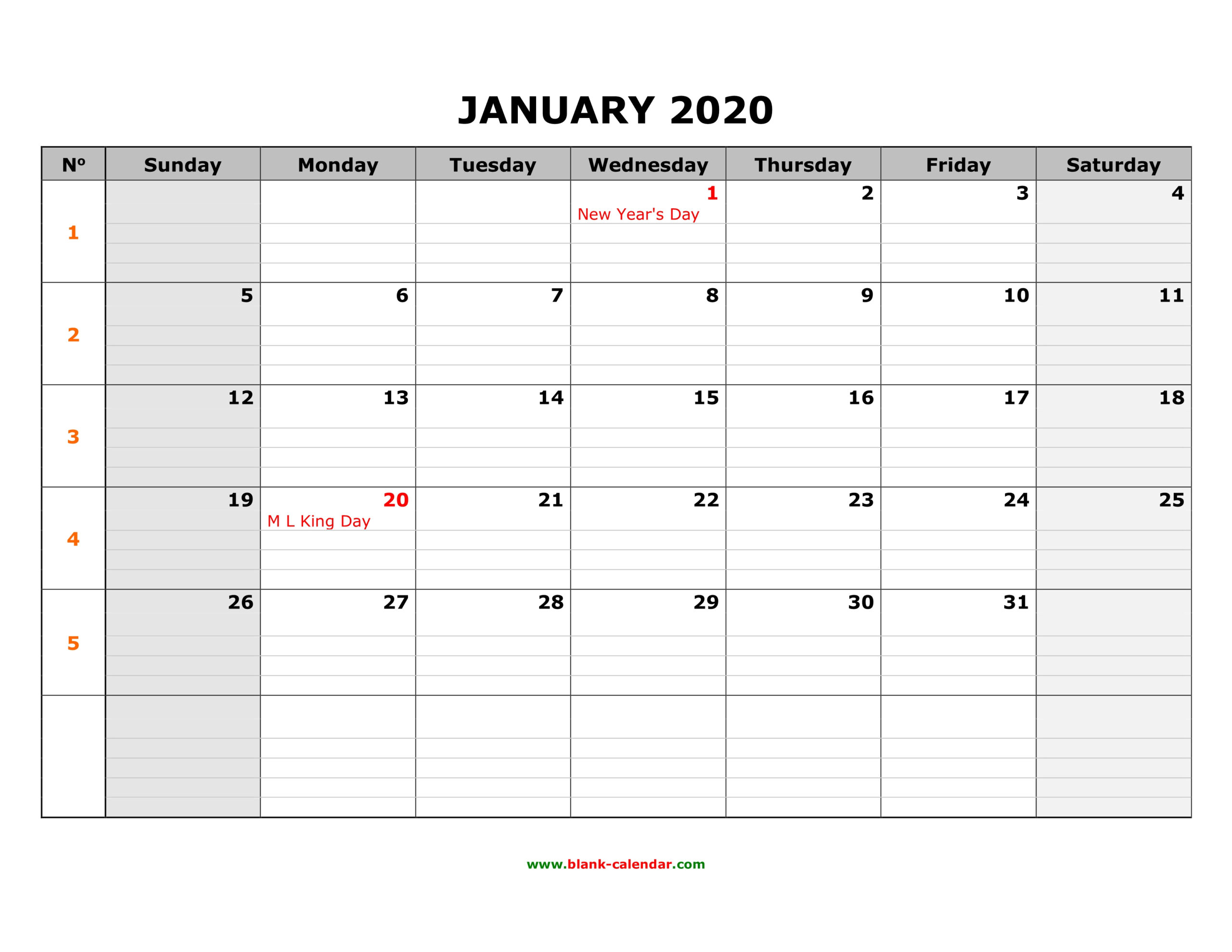Free Download Printable Calendar 2020 Large Box Grid Space