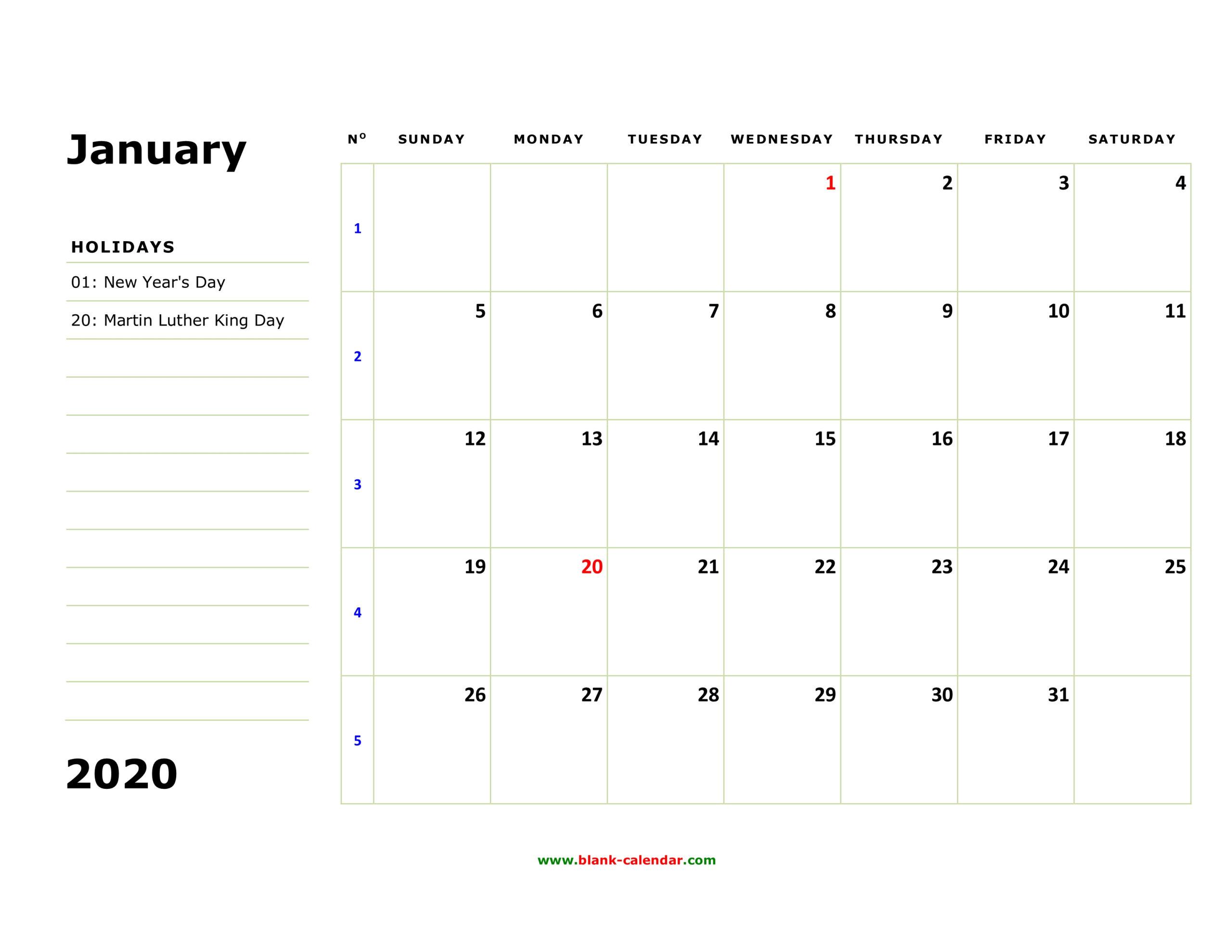 Free Download Printable Calendar 2020 Large Box Holidays