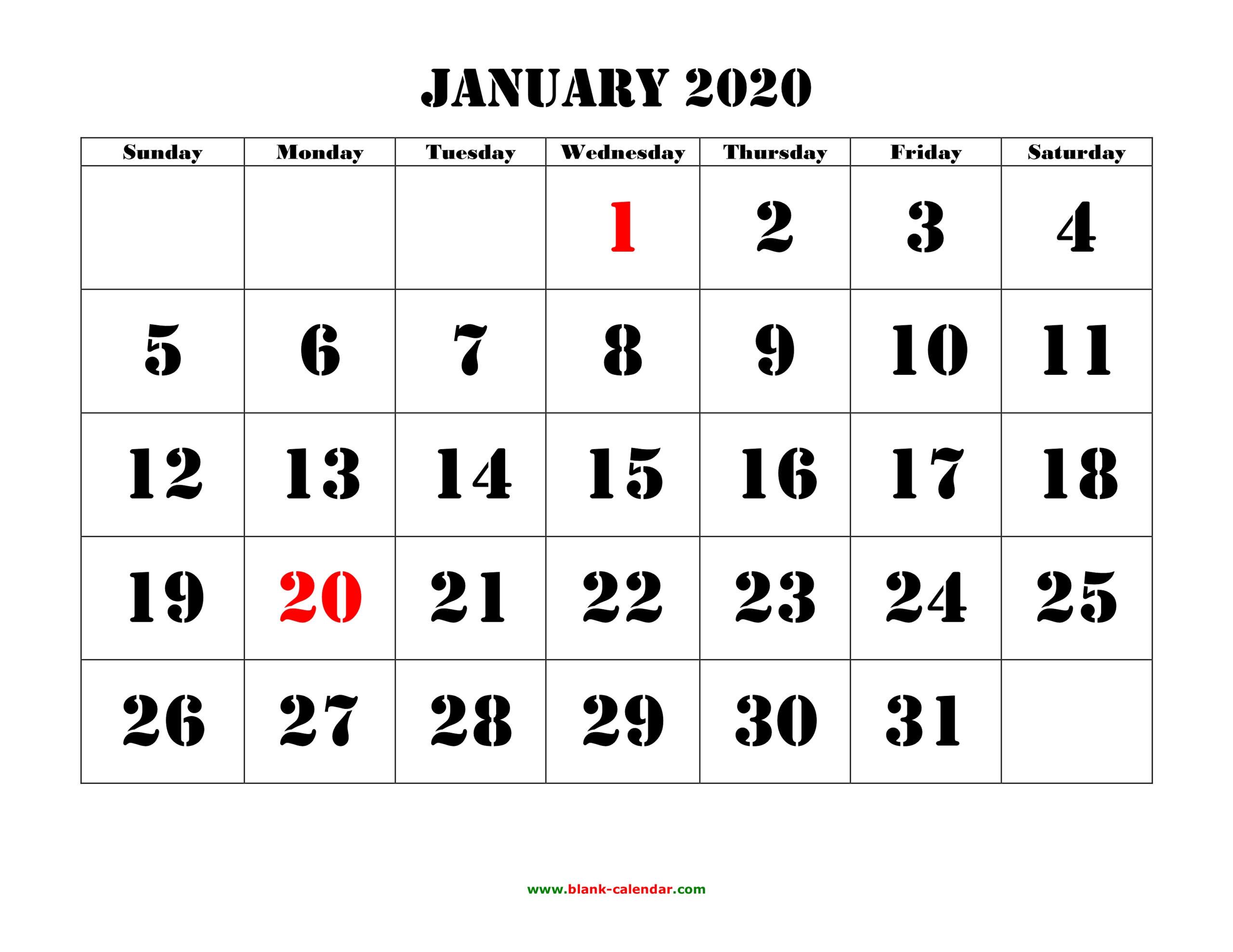 Free Download Printable Calendar 2020 Large Font Design