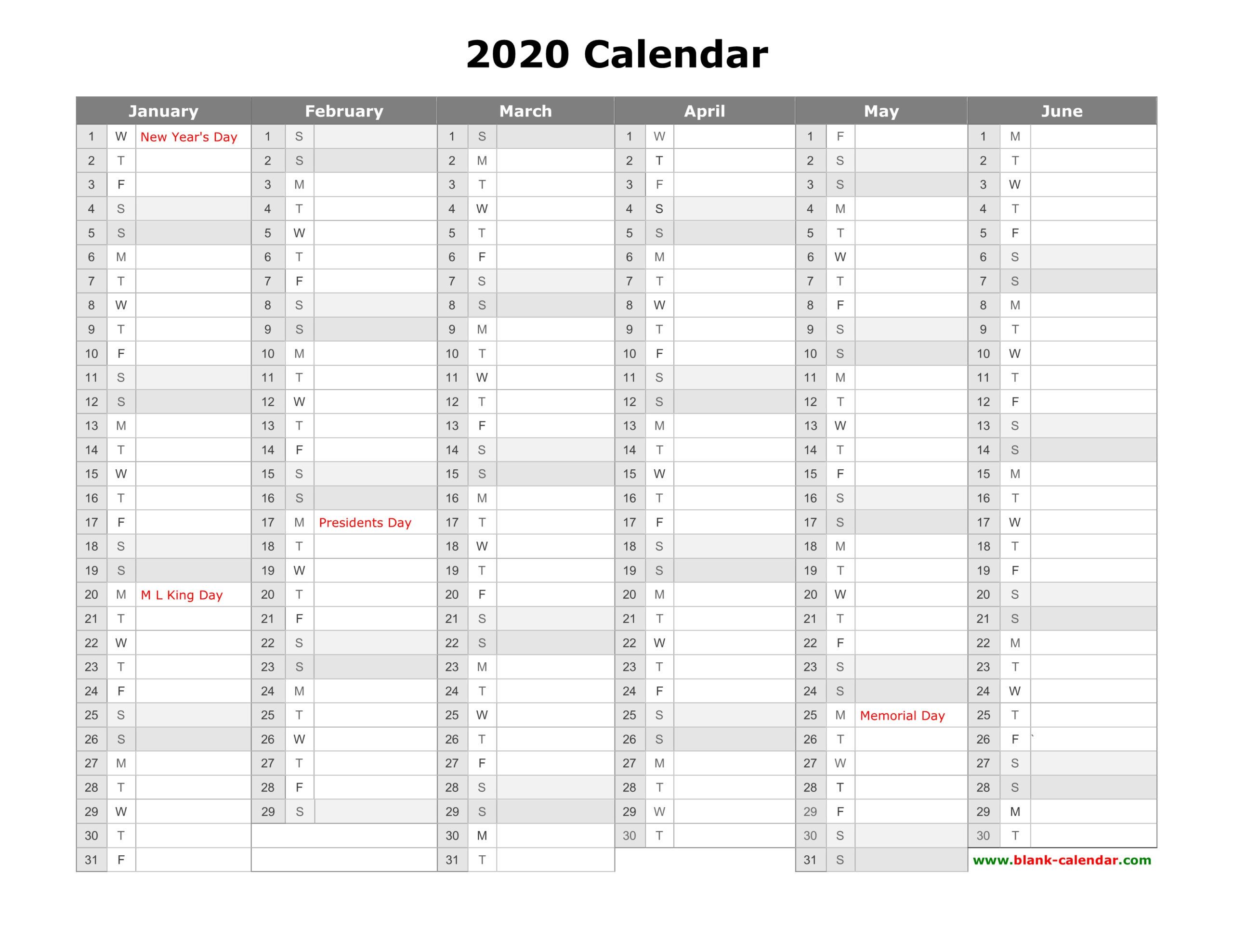 Free Download Printable Calendar 2020 Month In A Column
