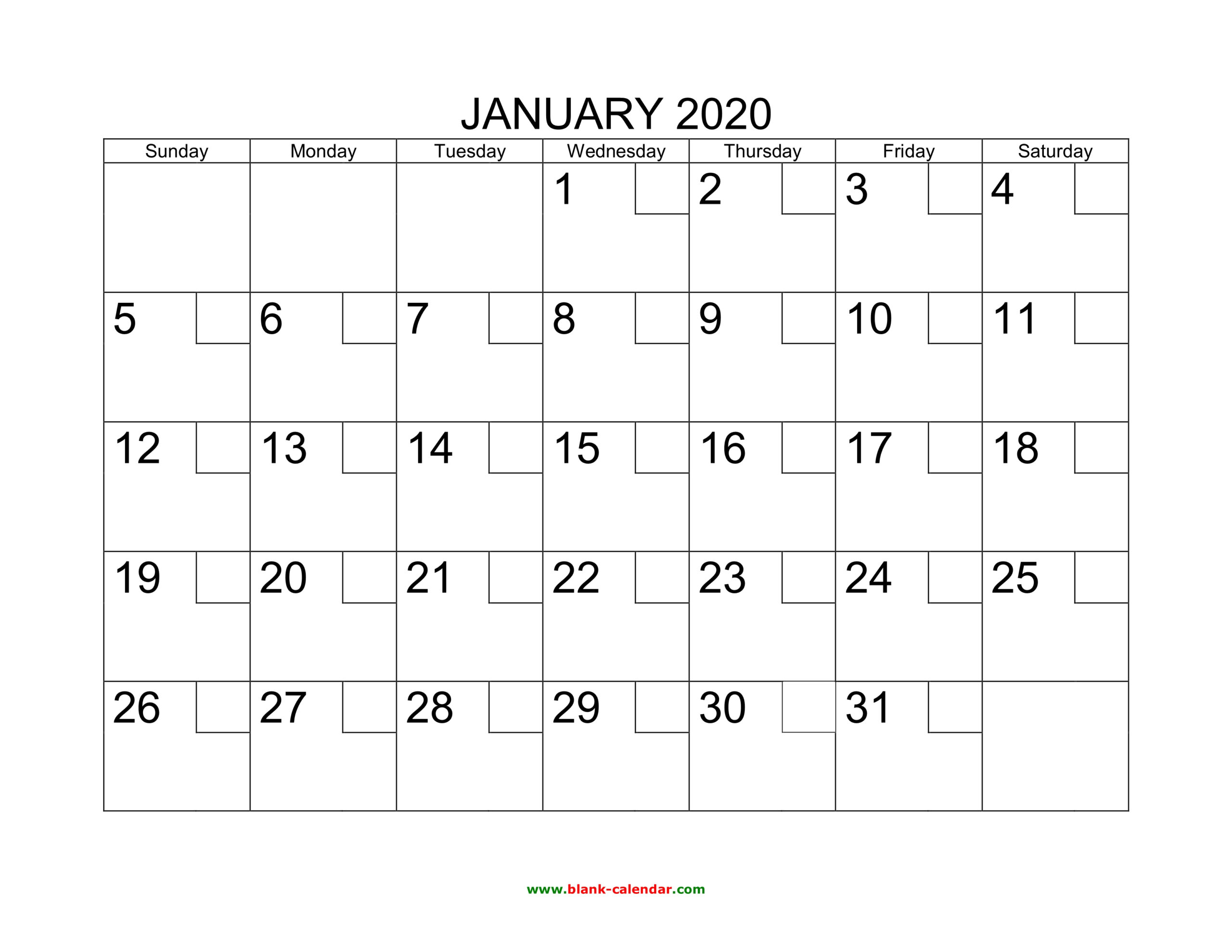 Free Download Printable Calendar 2020 With Check Boxes