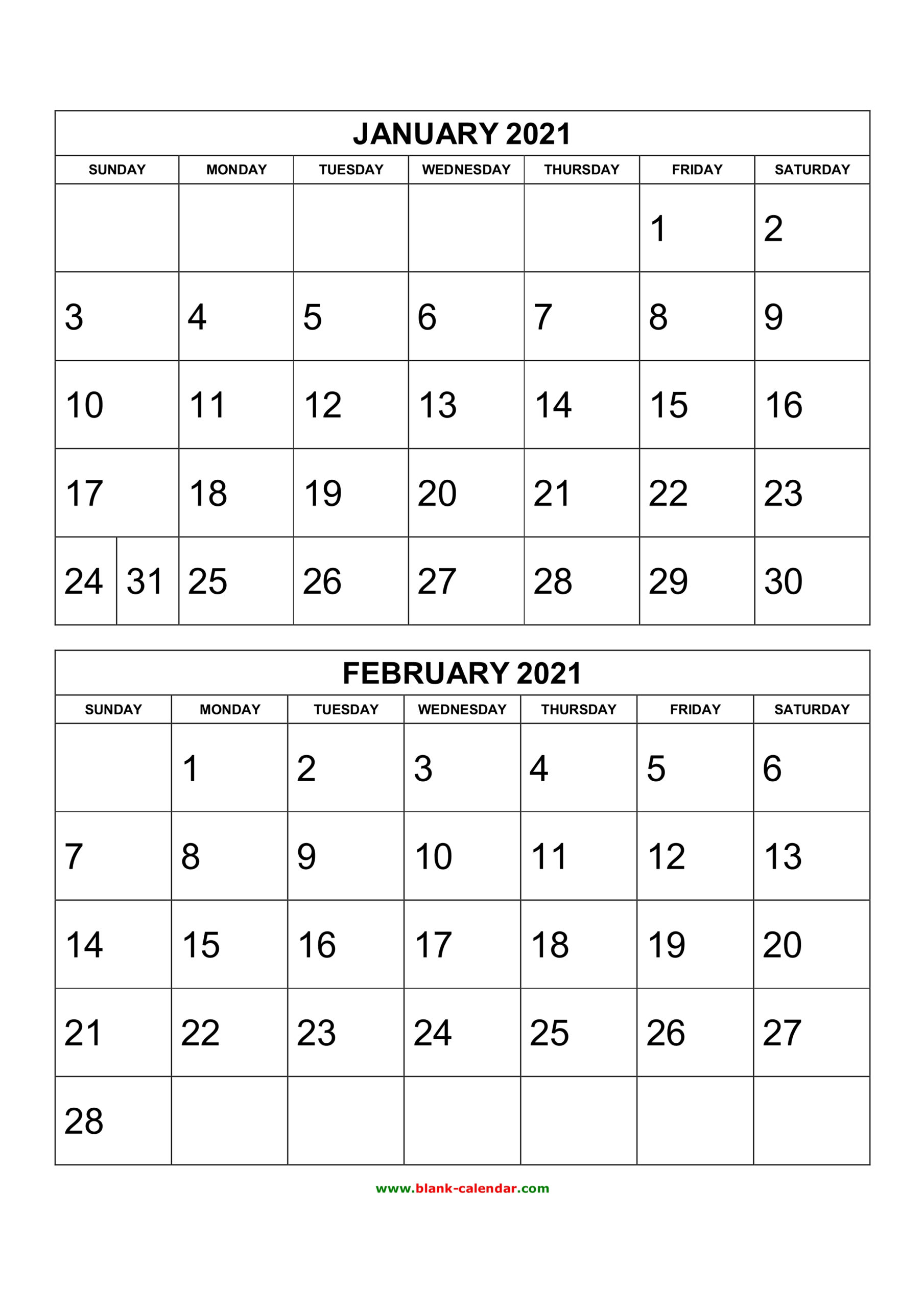 Free Download Printable Calendar 2021 2 Months Per Page 6