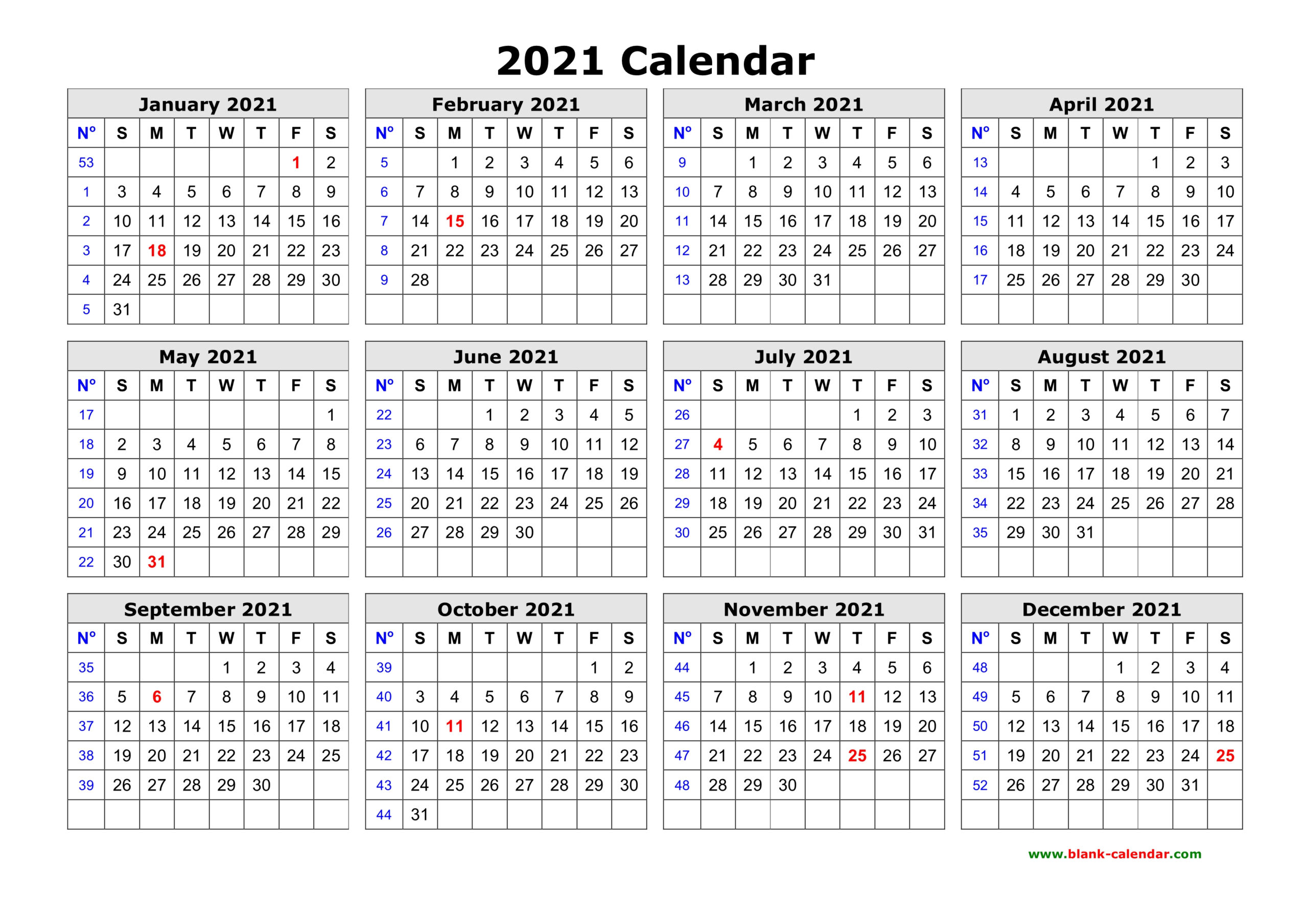 Free Download Printable Calendar 2021 In One Page Clean Design.