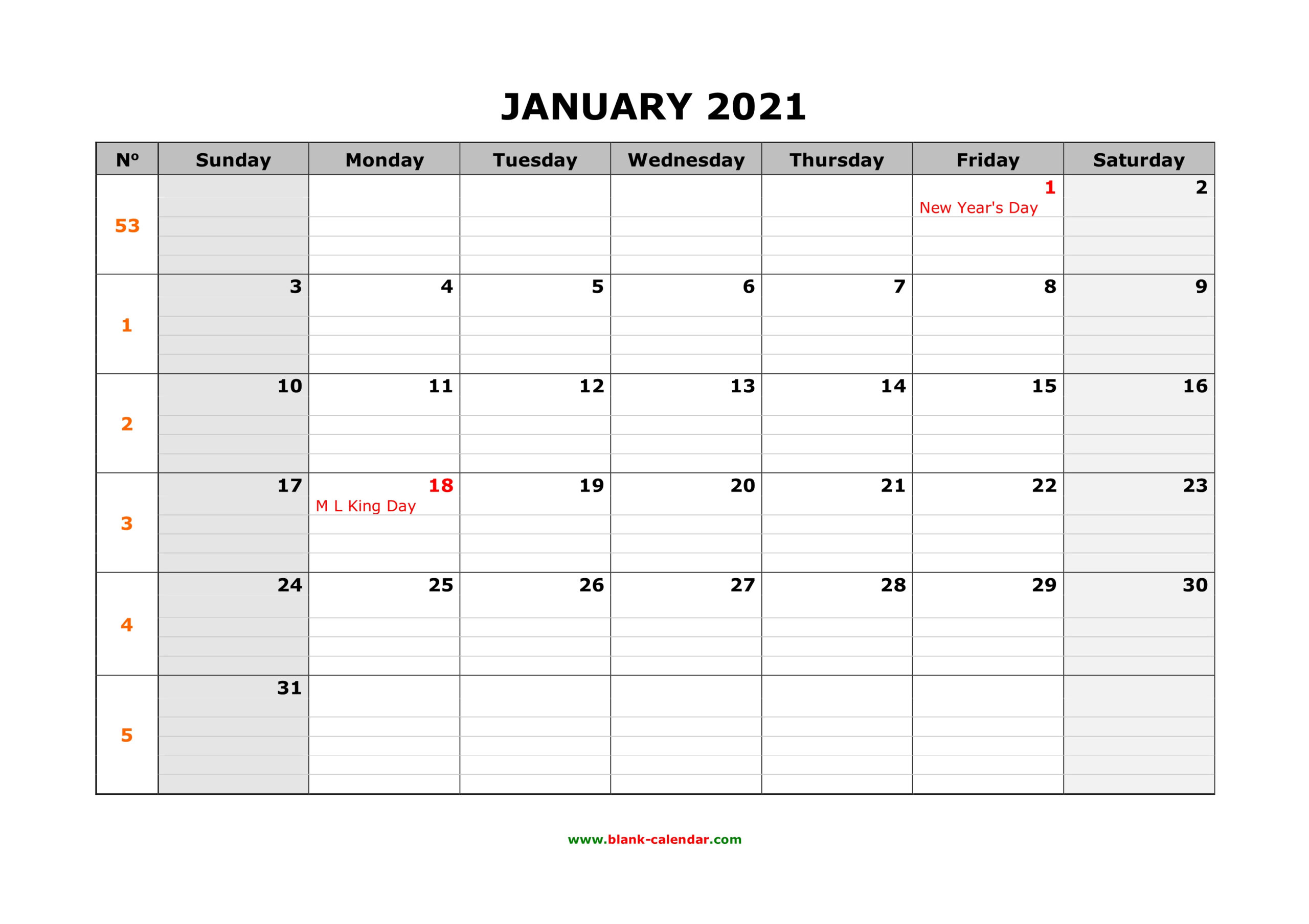 Free Download Printable Calendar 2021 Large Box Grid Space