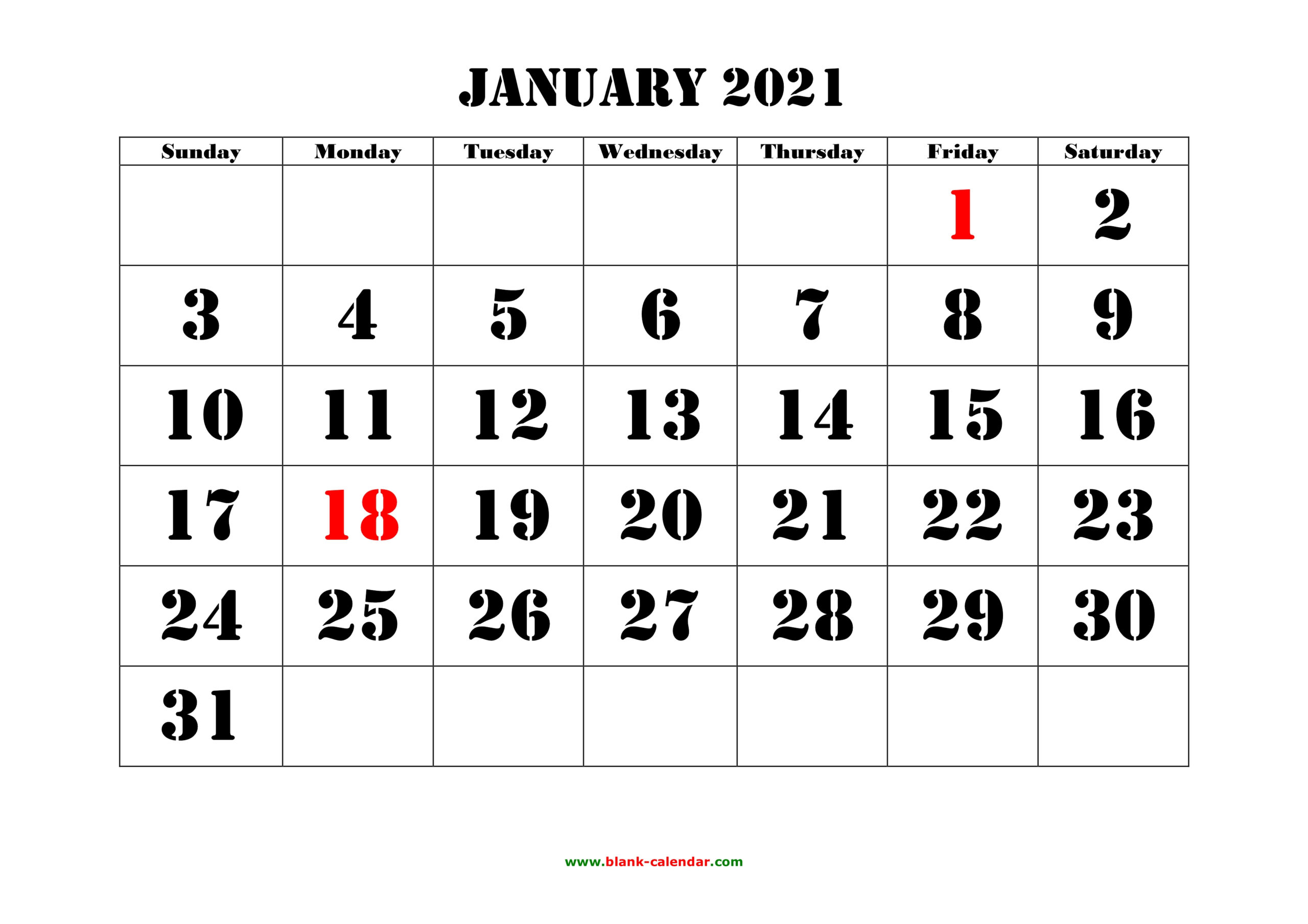 Free Download Printable Calendar 2021 Large Font Design