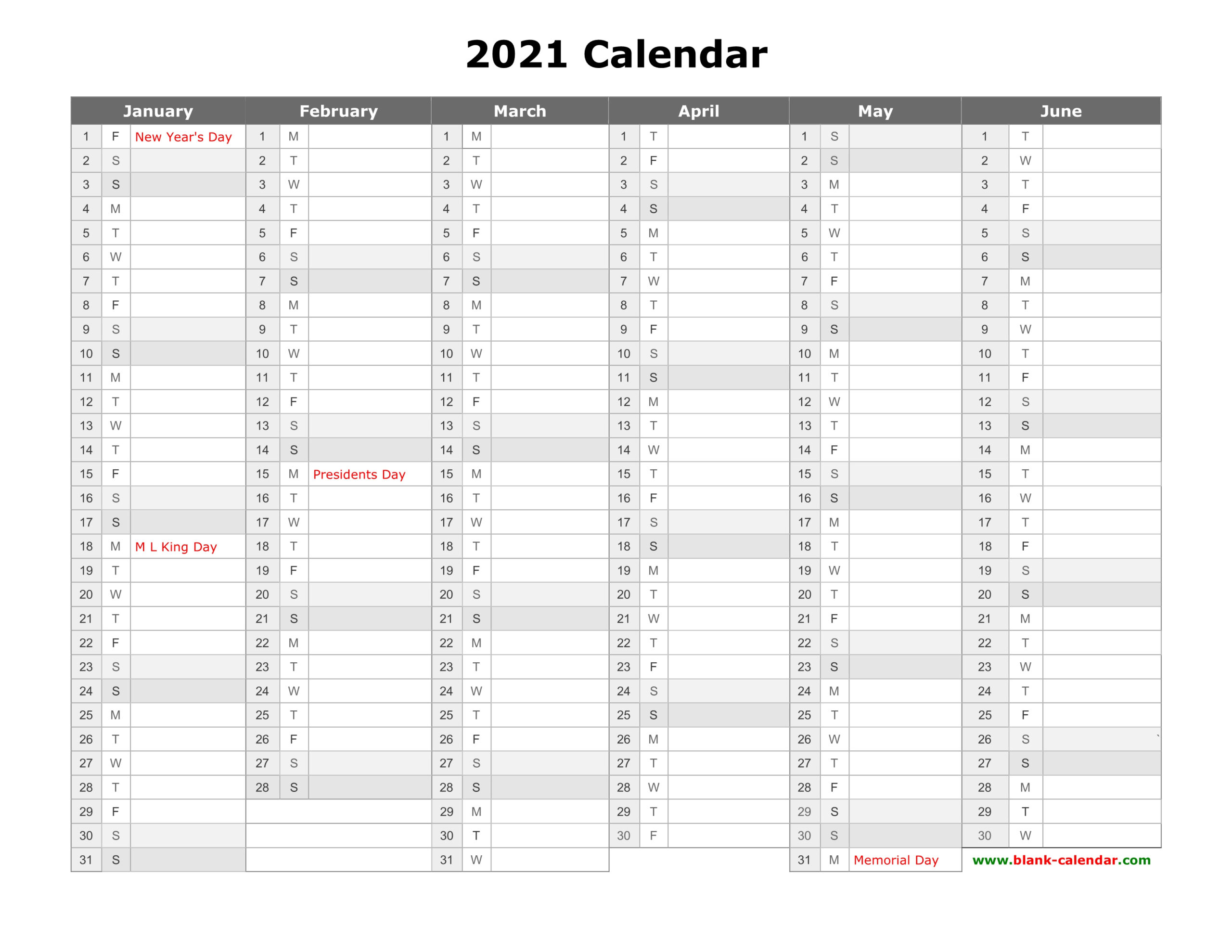 Free Download Printable Calendar 2021 Month In A Column