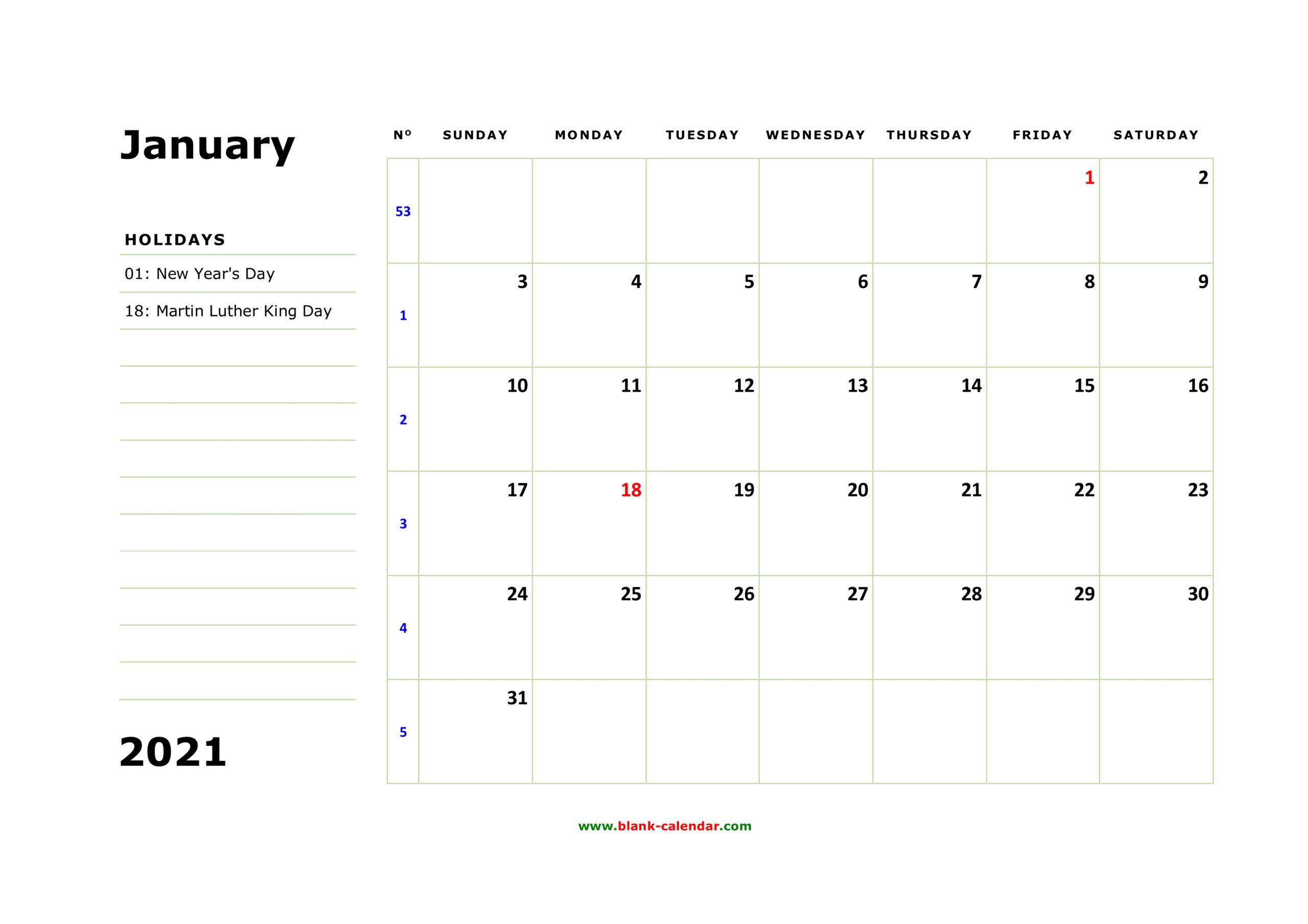 Free Download Printable January 2021 Calendar Large Box