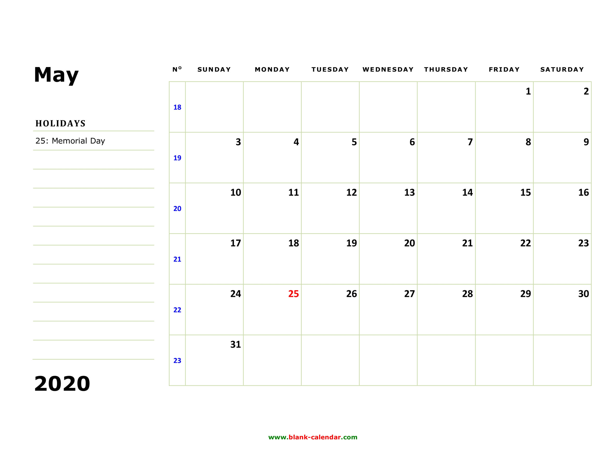 Free Download Printable May 2020 Calendar Large Box