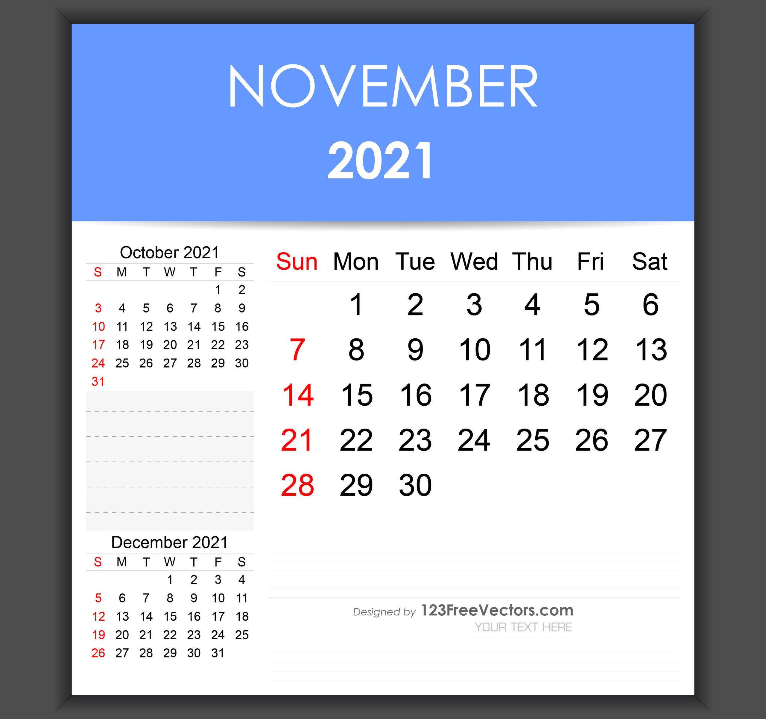 Free Editable November 2021 Calendar Template