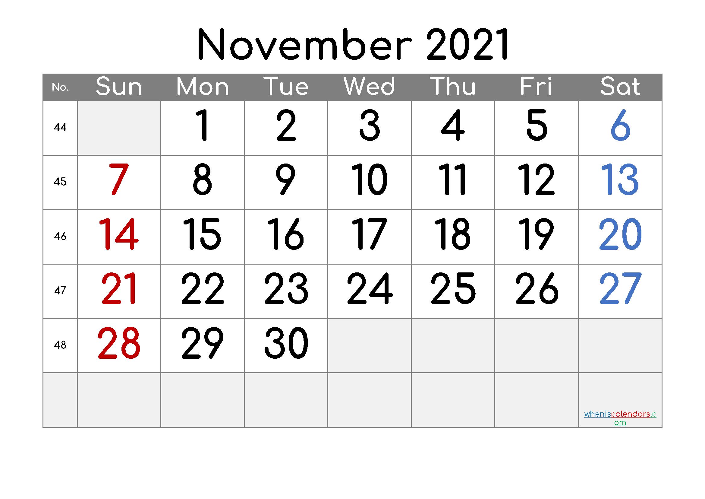 Free Editable November 2021 Calendar | Template