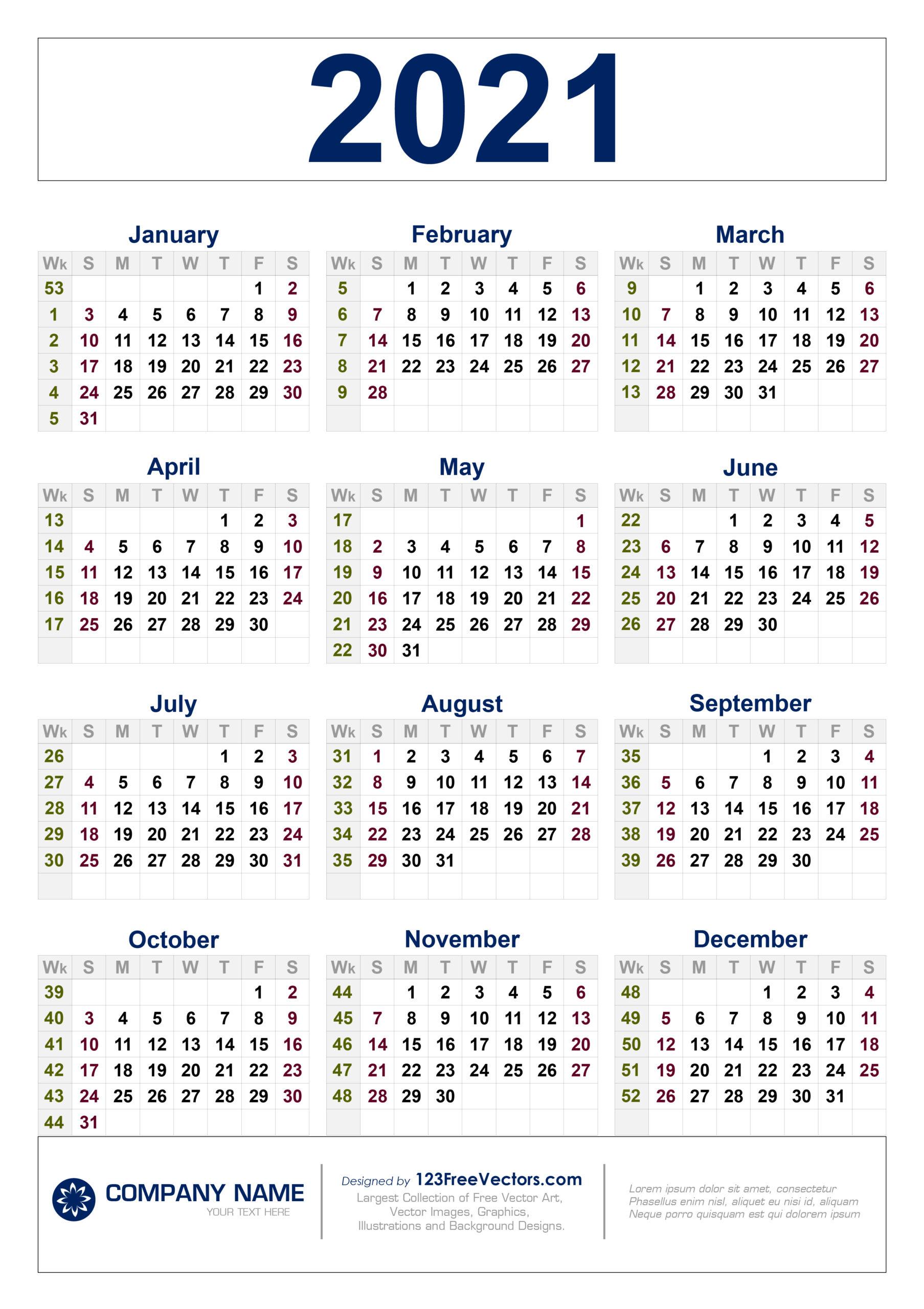 Free Free Download 2021 Calendar With Week Numbers