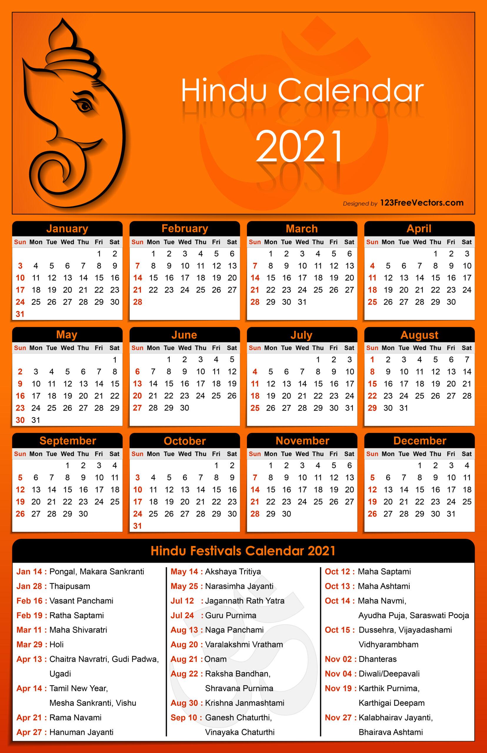 Free Hindu Calendar 2021
