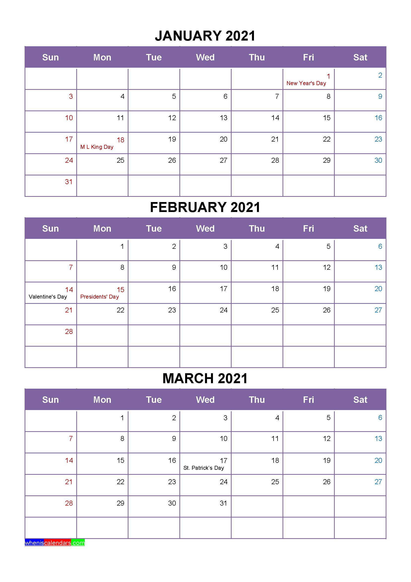Free January February March 2021 Printable Calendar Template