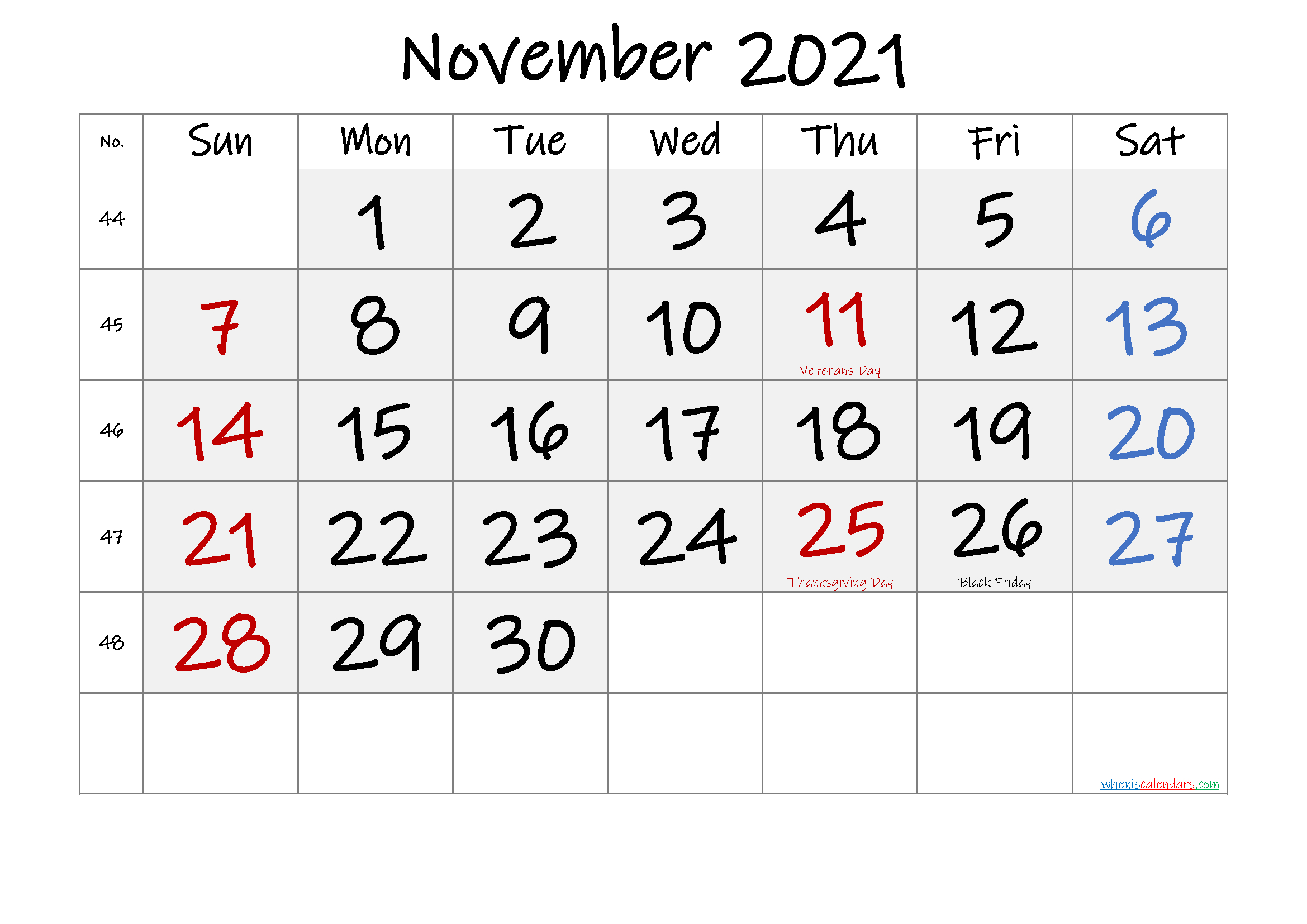Free November 2021 Monthly Calendar Pdf-Template No.if21M59