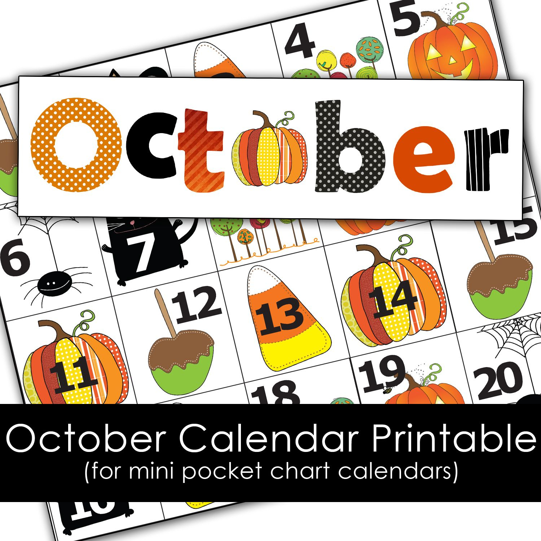 Free October Calendar Printables For Mini Pocket Chart