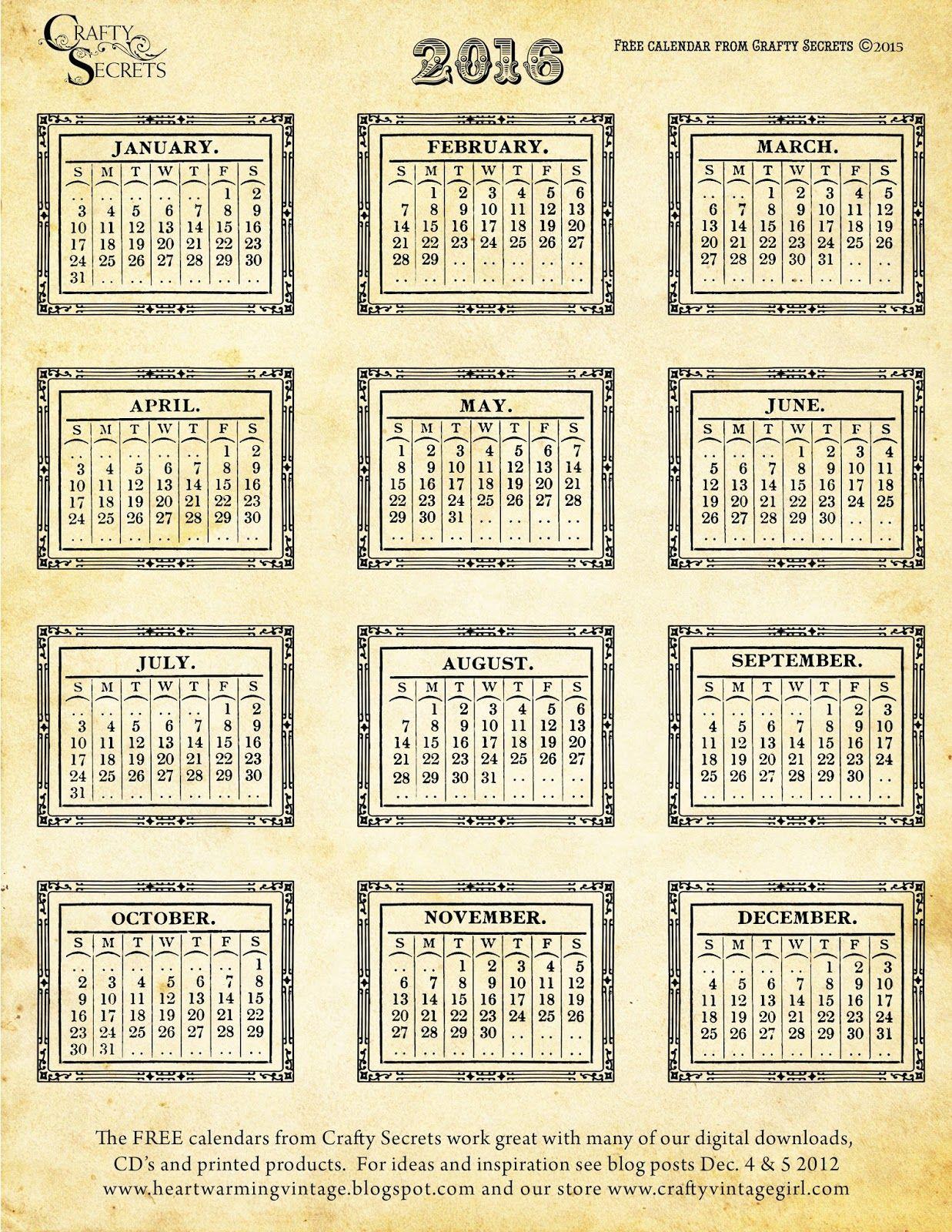 Free Printable 2016 Vintage Calendars Color Me Calendar
