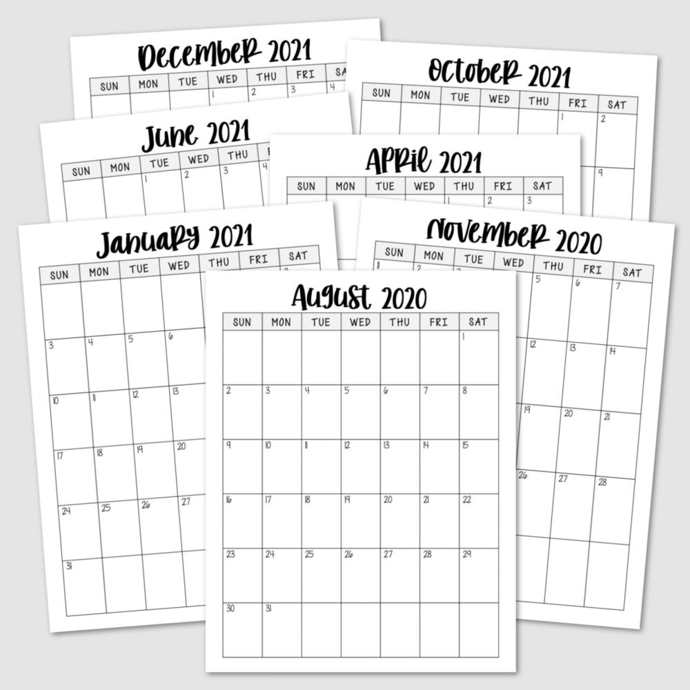Free Printable 2020-2021 Calendar — Krafty Planner