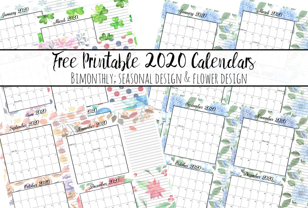 Free Printable 2020 Bimonthly Calendars With Holidays: 2 Designs