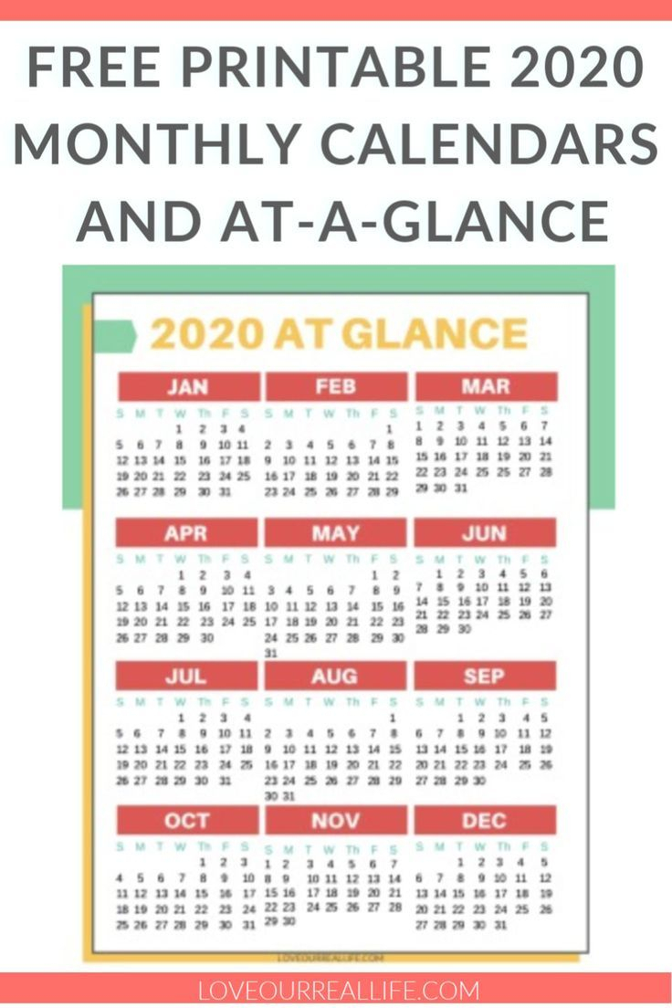 Free Printable 2020 Calendars ⋆ Love Our Real Life | Free
