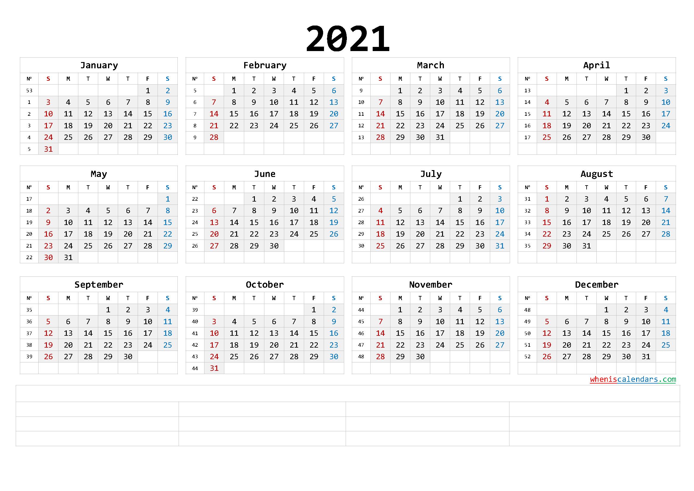 Free Printable 2021 Calendar Templates (6 Templates) - Free