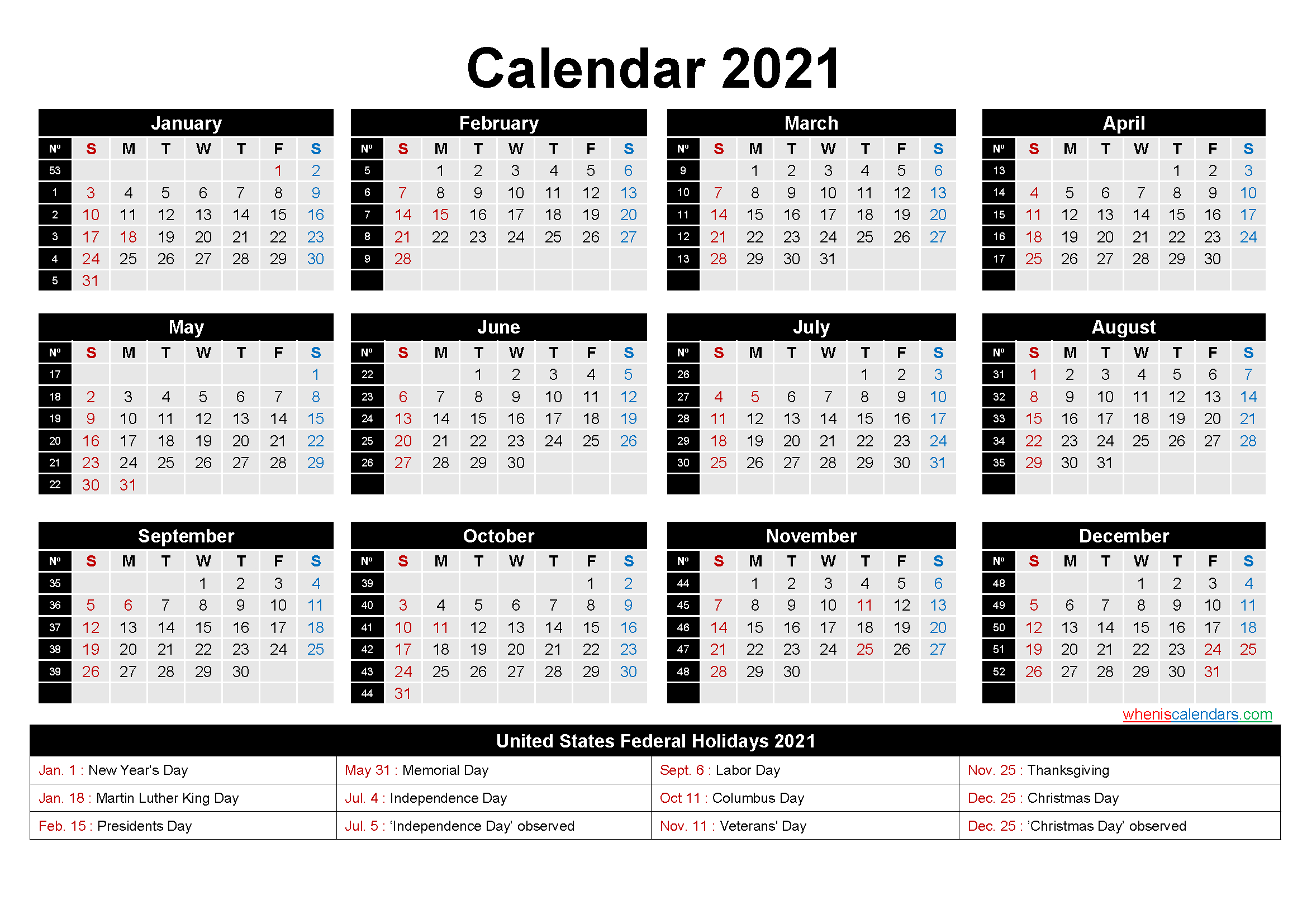 Free Printable 2021 Calendar With Holidays As Word Pdf