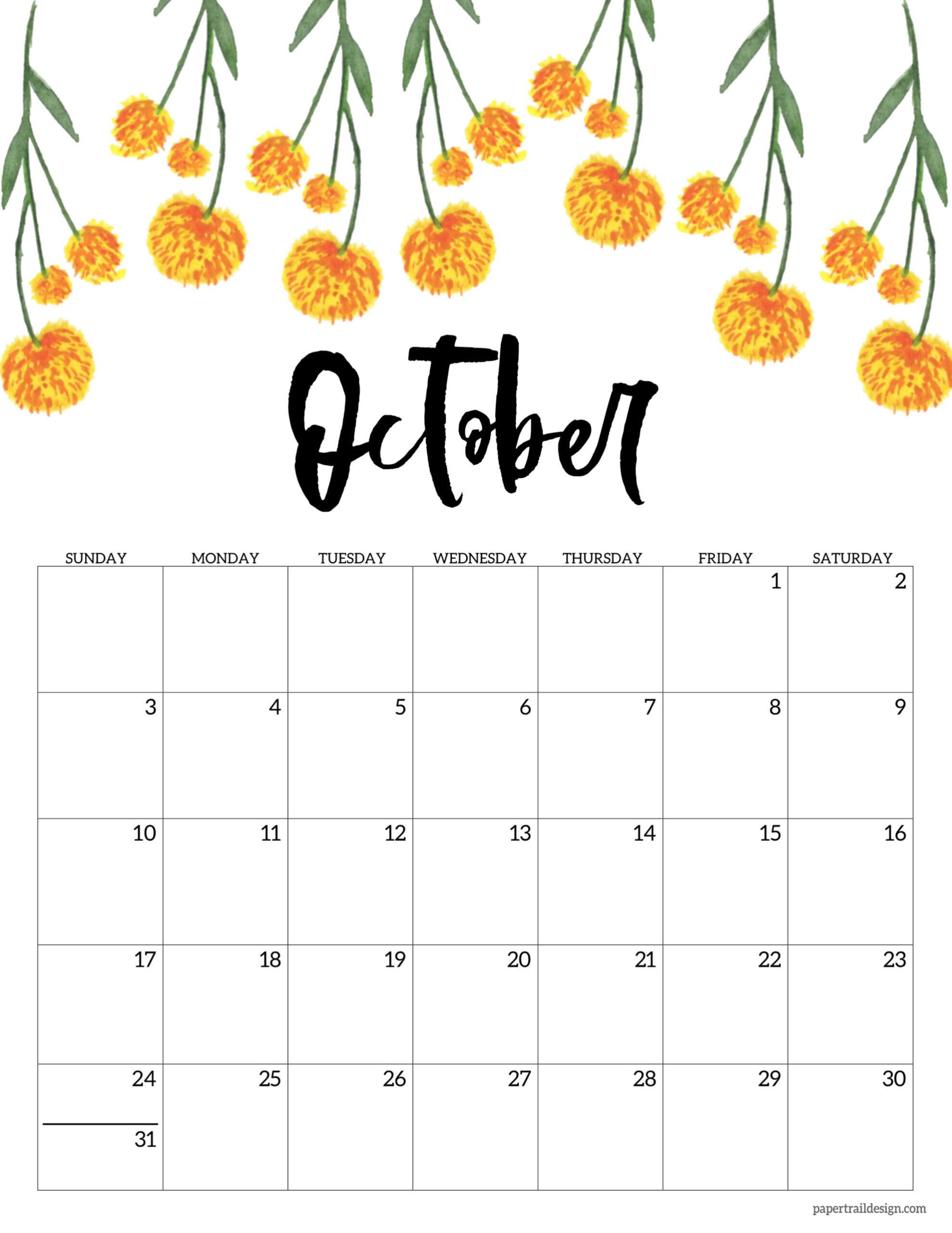 Free Printable 2021 Floral Calendar | Paper Trail Design
