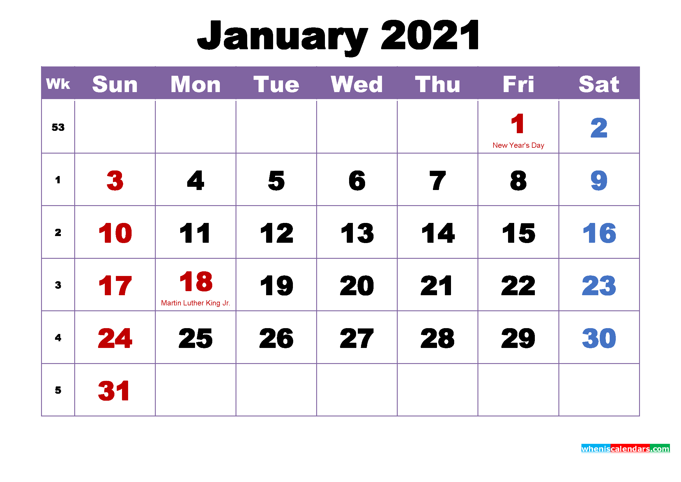 Free Printable 2021 Monthly Calendar With Holidays January