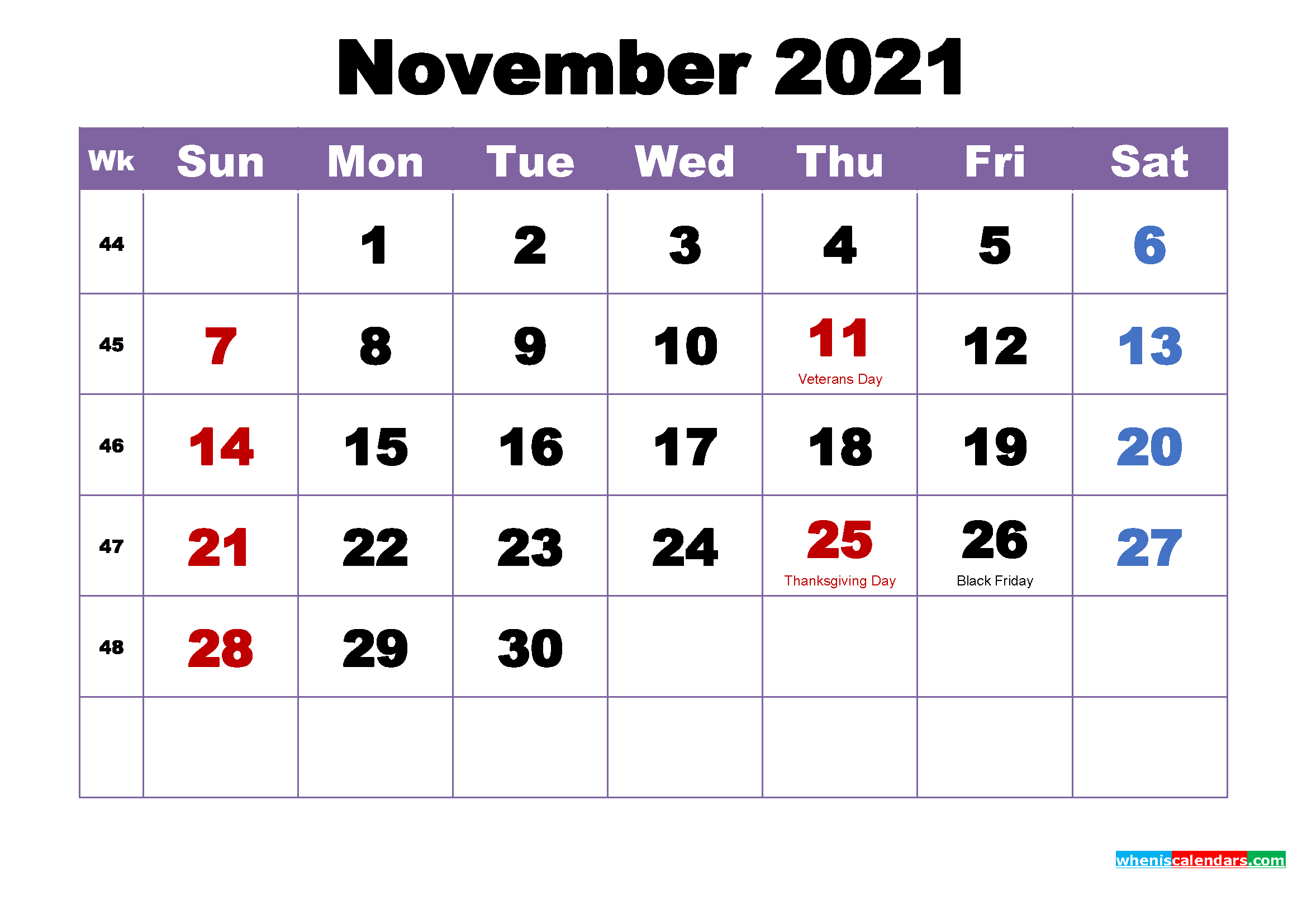 Free Printable 2021 Monthly Calendar With Holidays November