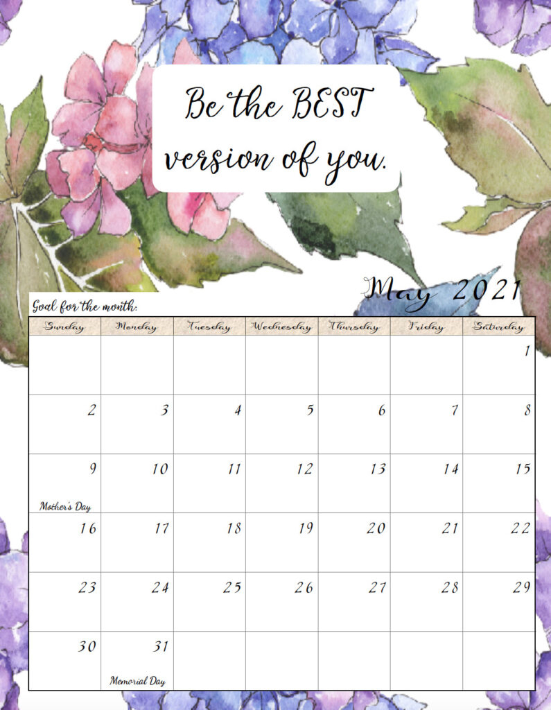 Free Printable 2021 Monthly Motivational Calendars