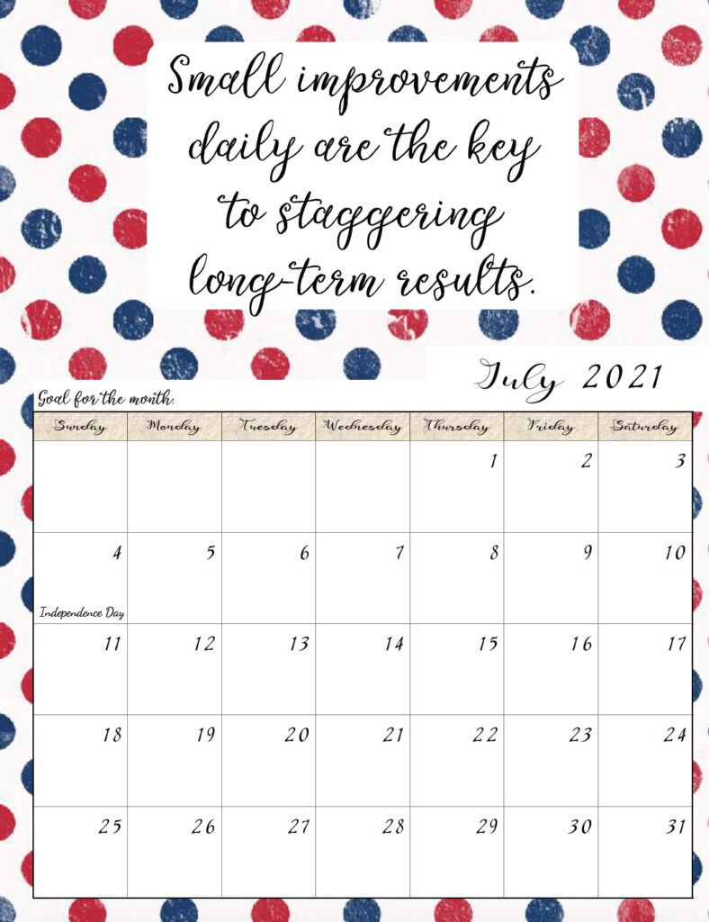 Free Printable 2021 Monthly Motivational Calendars In 2020