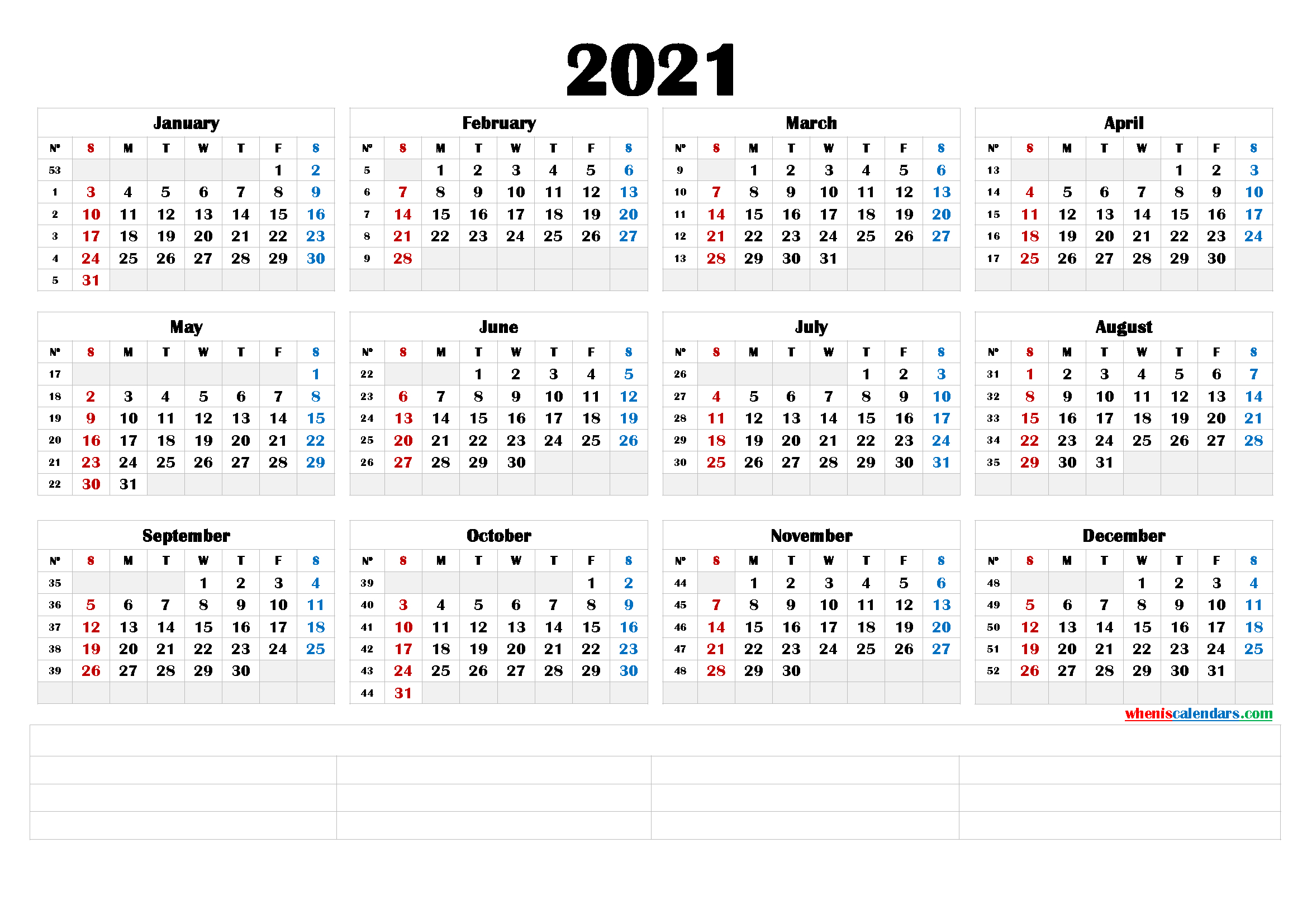Free Printable 2021 Yearly Calendar – Calendraex