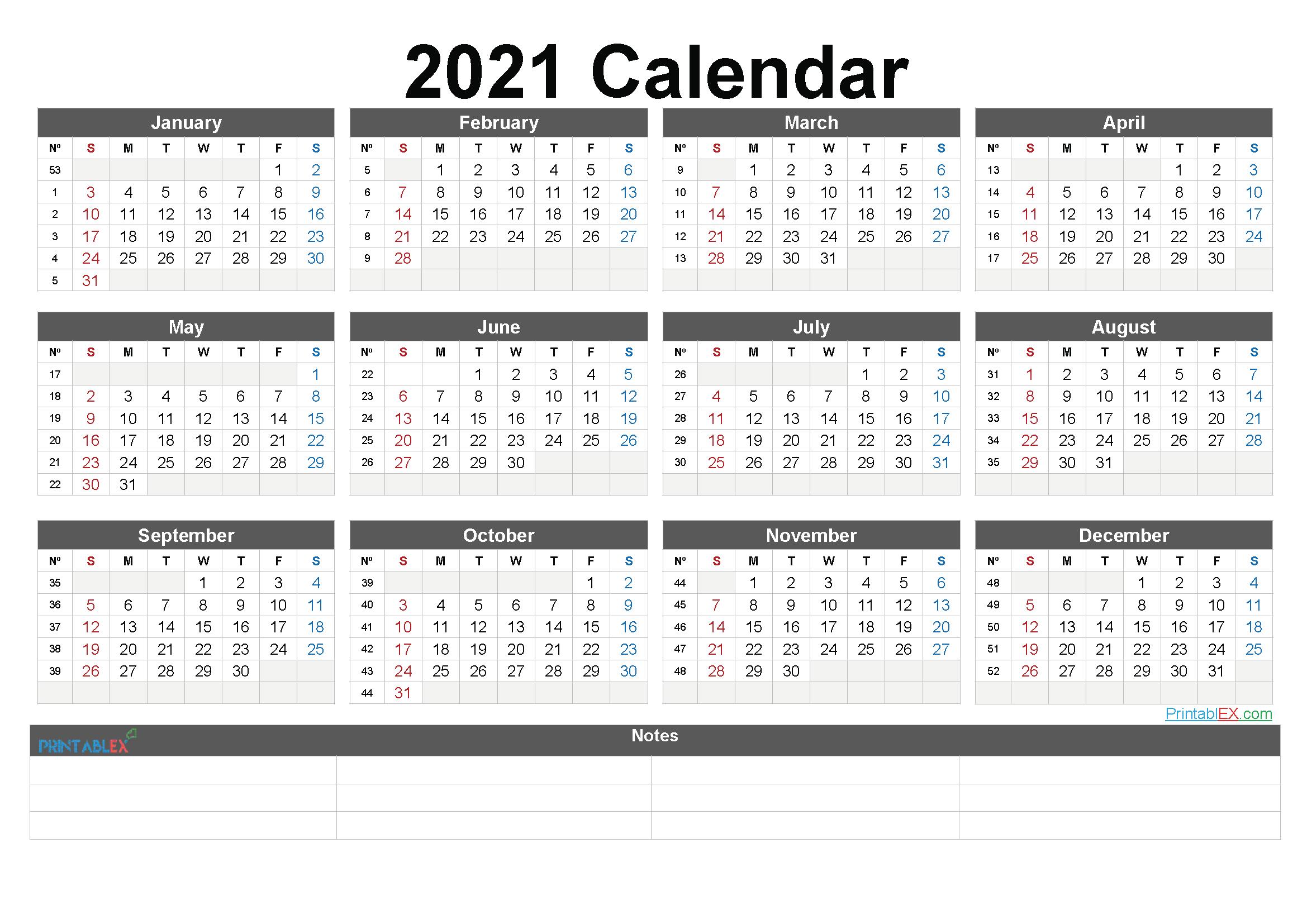 Free Printable 2021 Yearly Calendar – Free Printable 2020