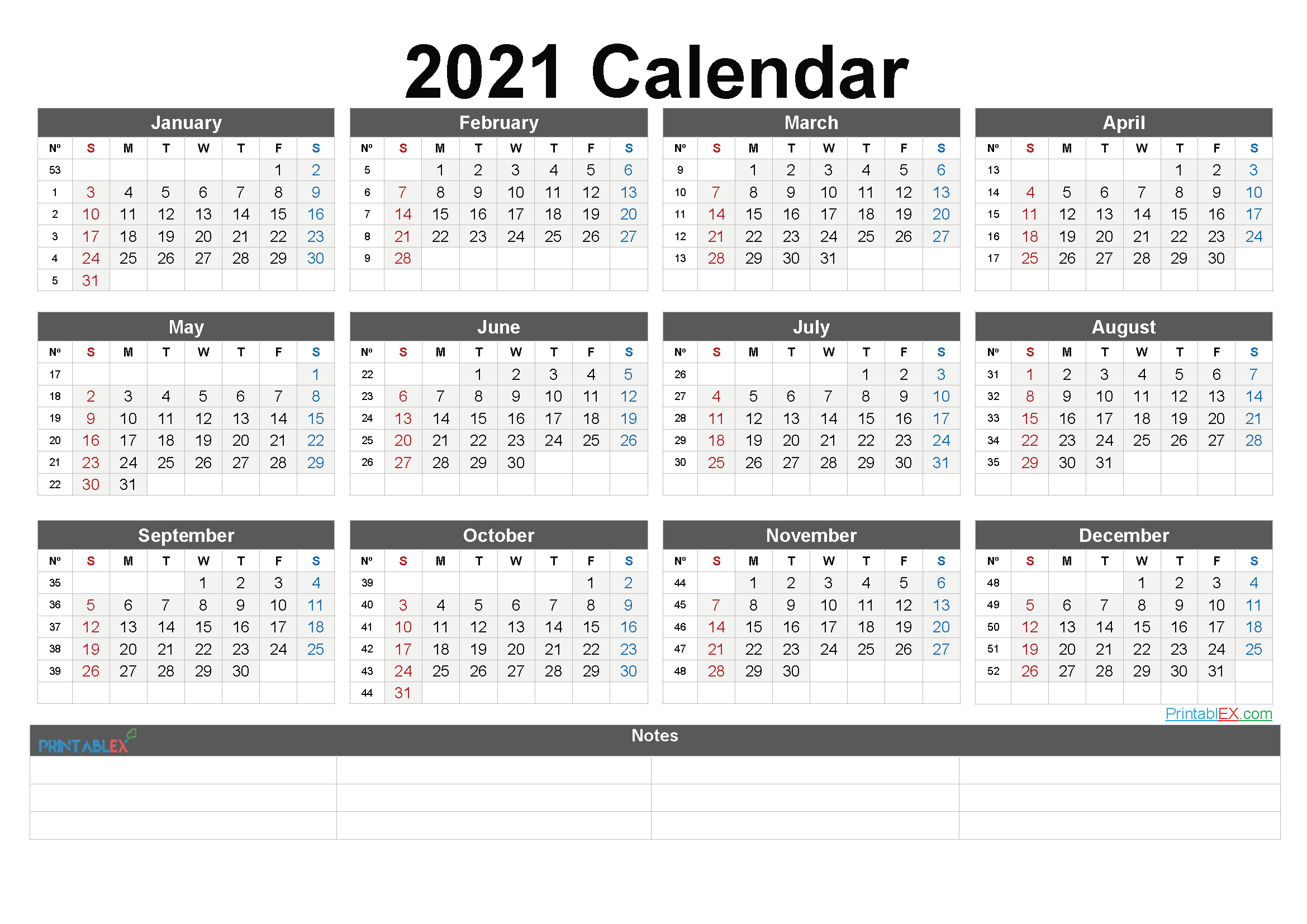 Free Printable 2021 Yearly Calendar With Week Numbers – 6