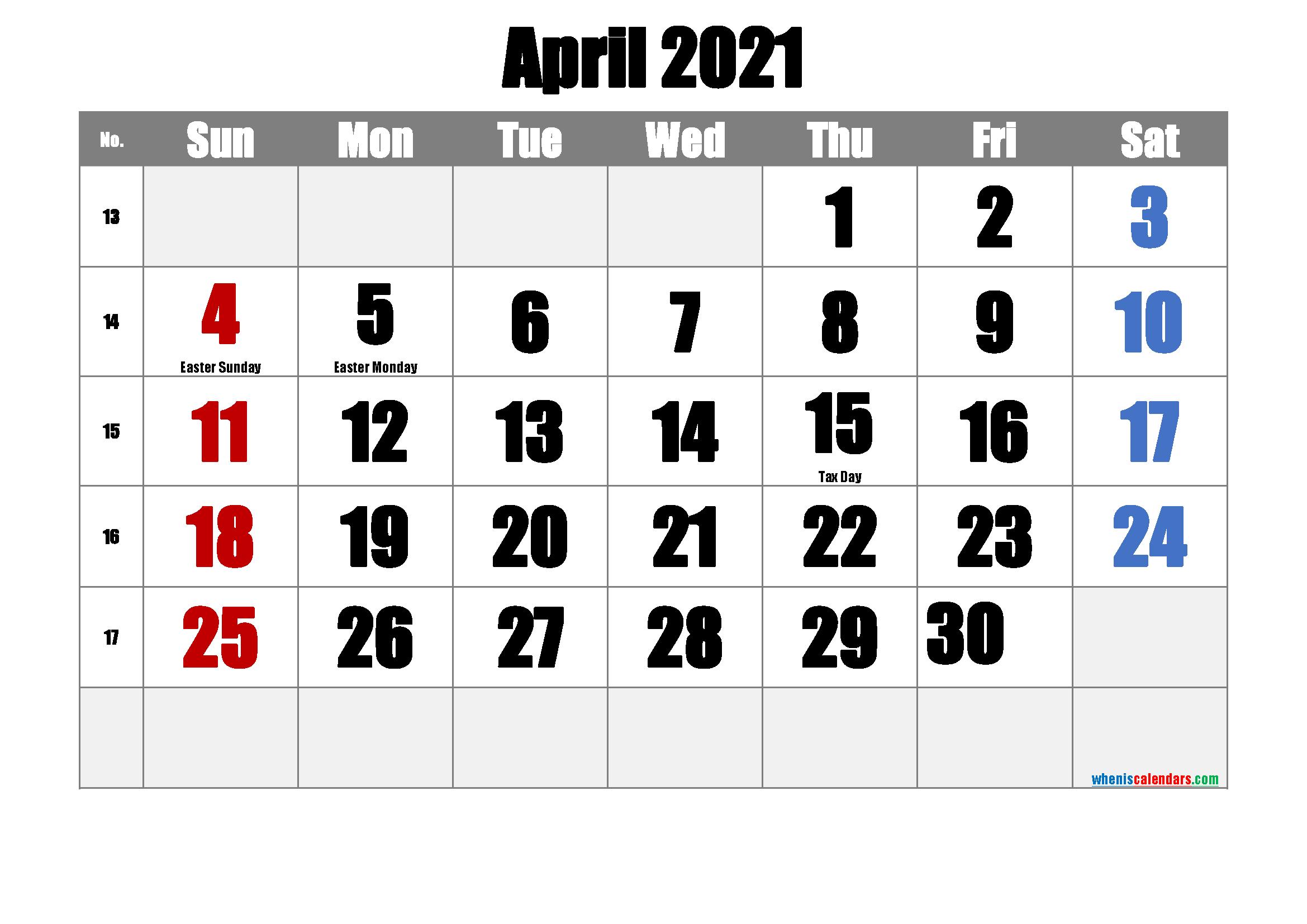 Free Printable April 2021 Calendar In 2020 | Free Printable