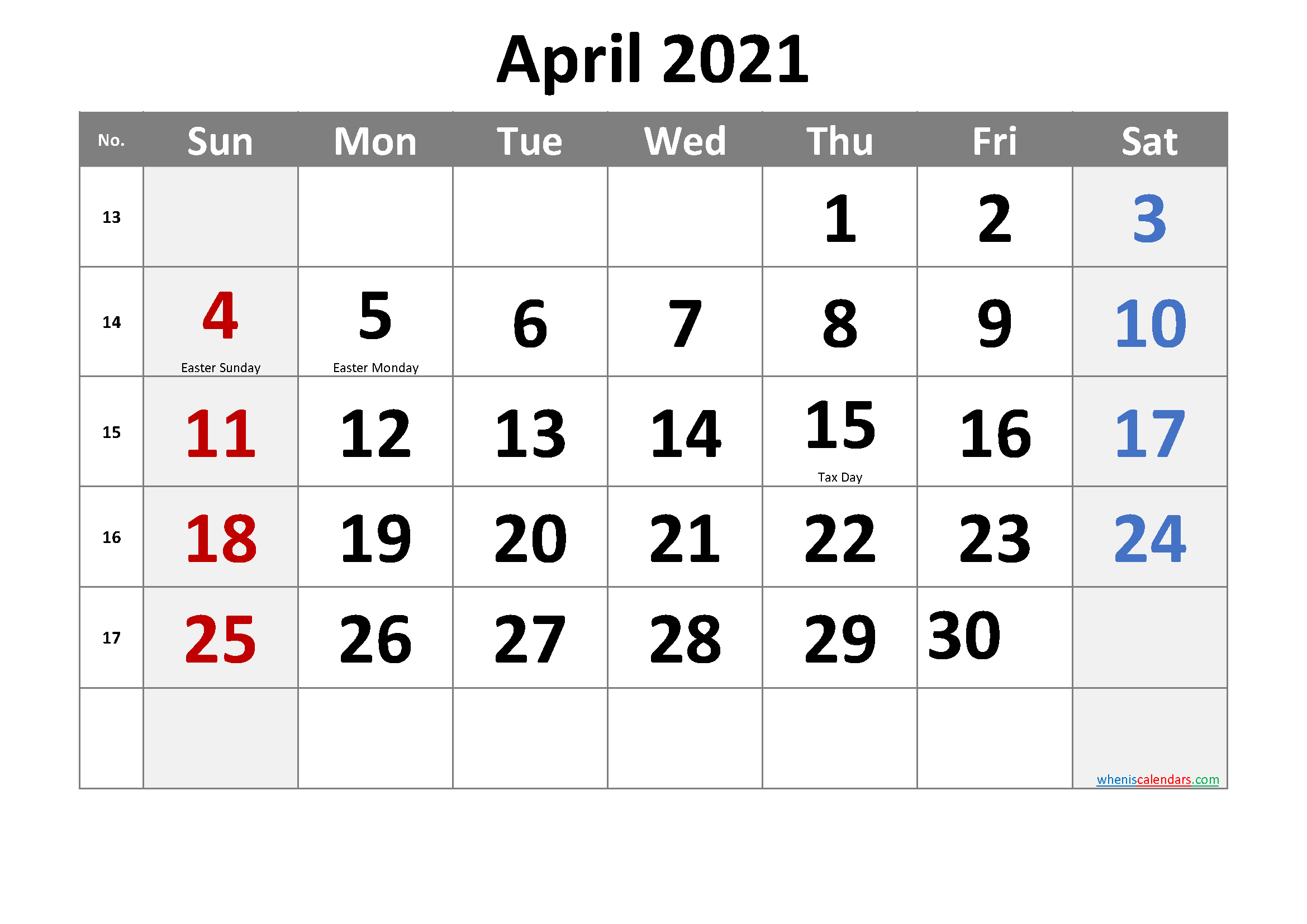 Free Printable April 2021 Calendar In 2020 | Printable