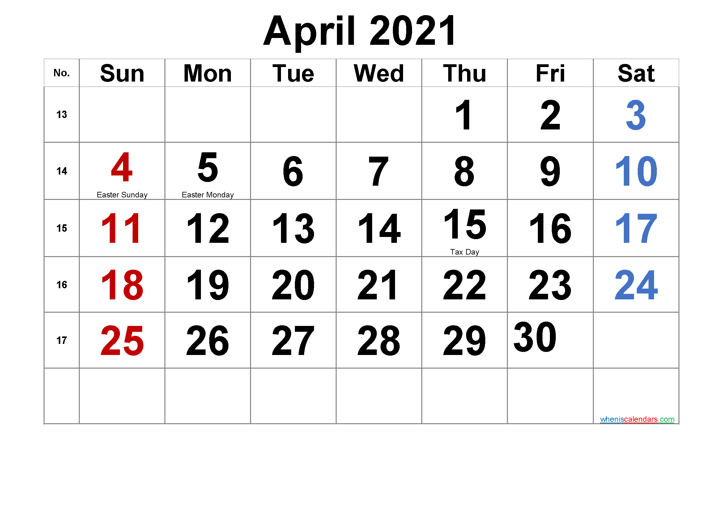 Free Printable April 2021 Calendar With Holidays - Free
