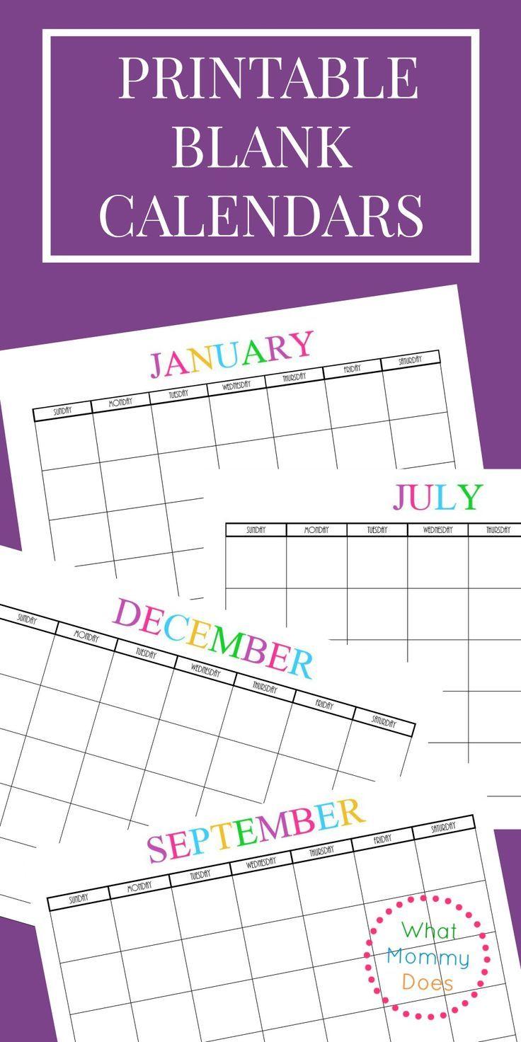 Free Printable Blank Monthly Calendars – 2020 2021 2022