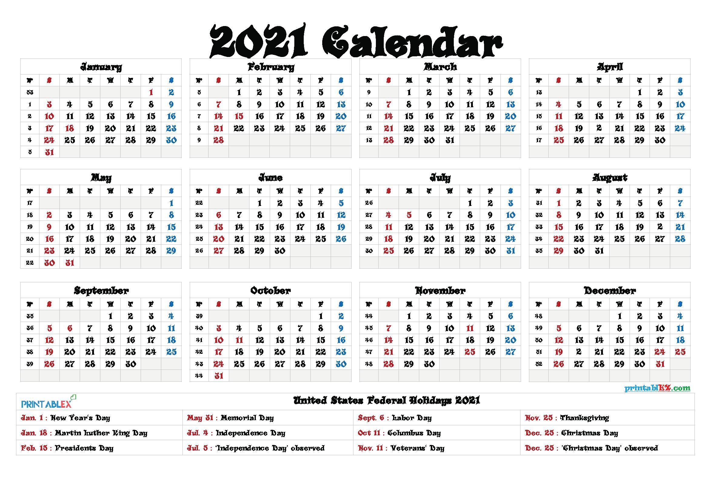Free Printable Calendar 2021 – 2021 Free Printable