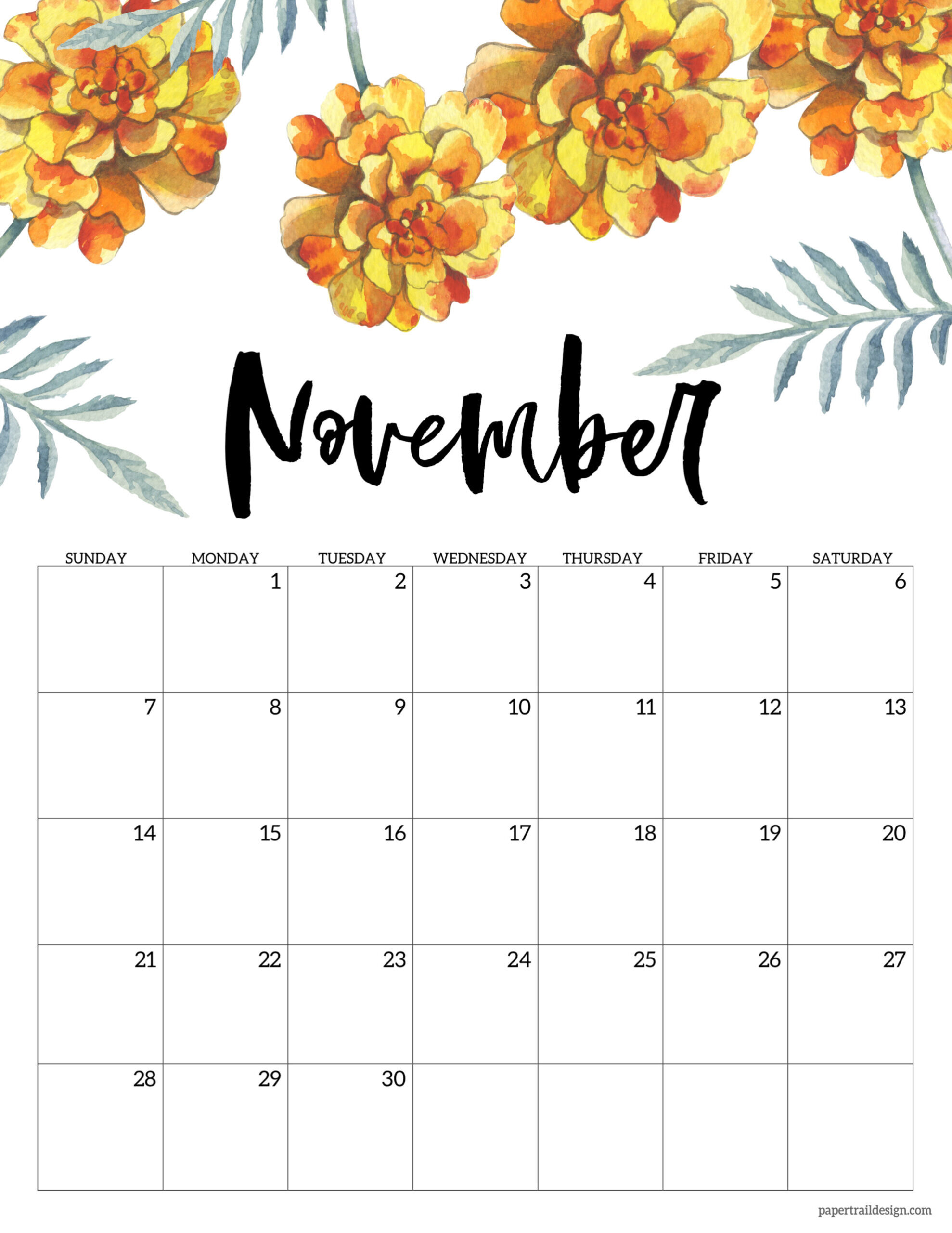 Free Printable Calendar 2021 - Floral | Paper Trail Design