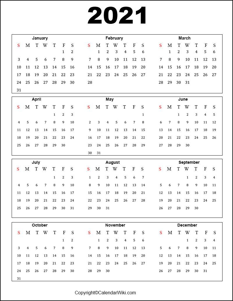 Free Printable Calendar 2021 Templates [Pdf Word]