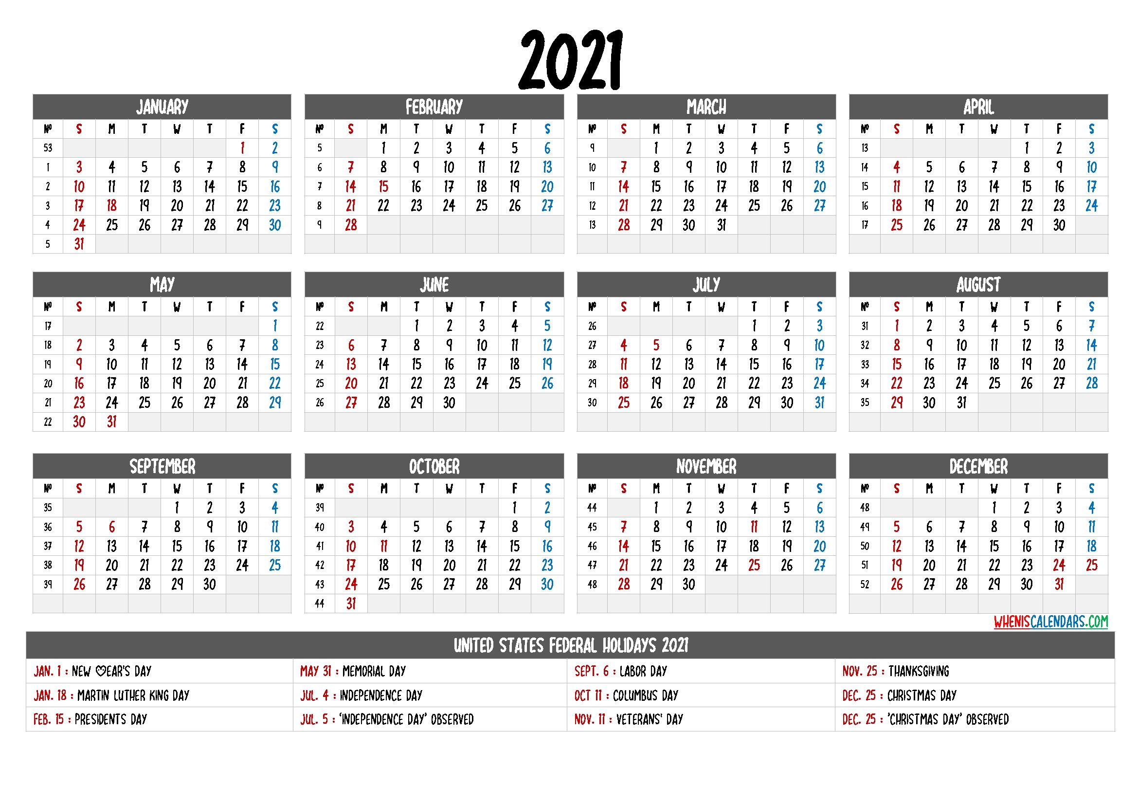 Free Printable Calendar 2021 With Holidays - 12 Templates