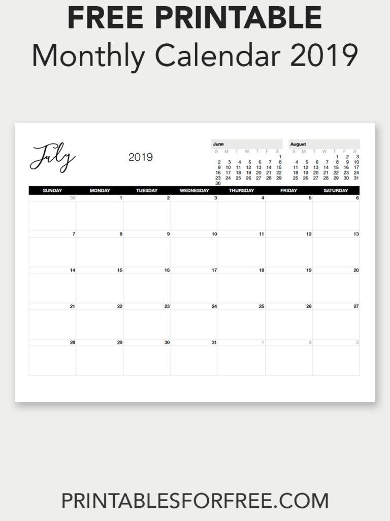 Free Printable Calendar Bold Print In 2020 | Free Printable