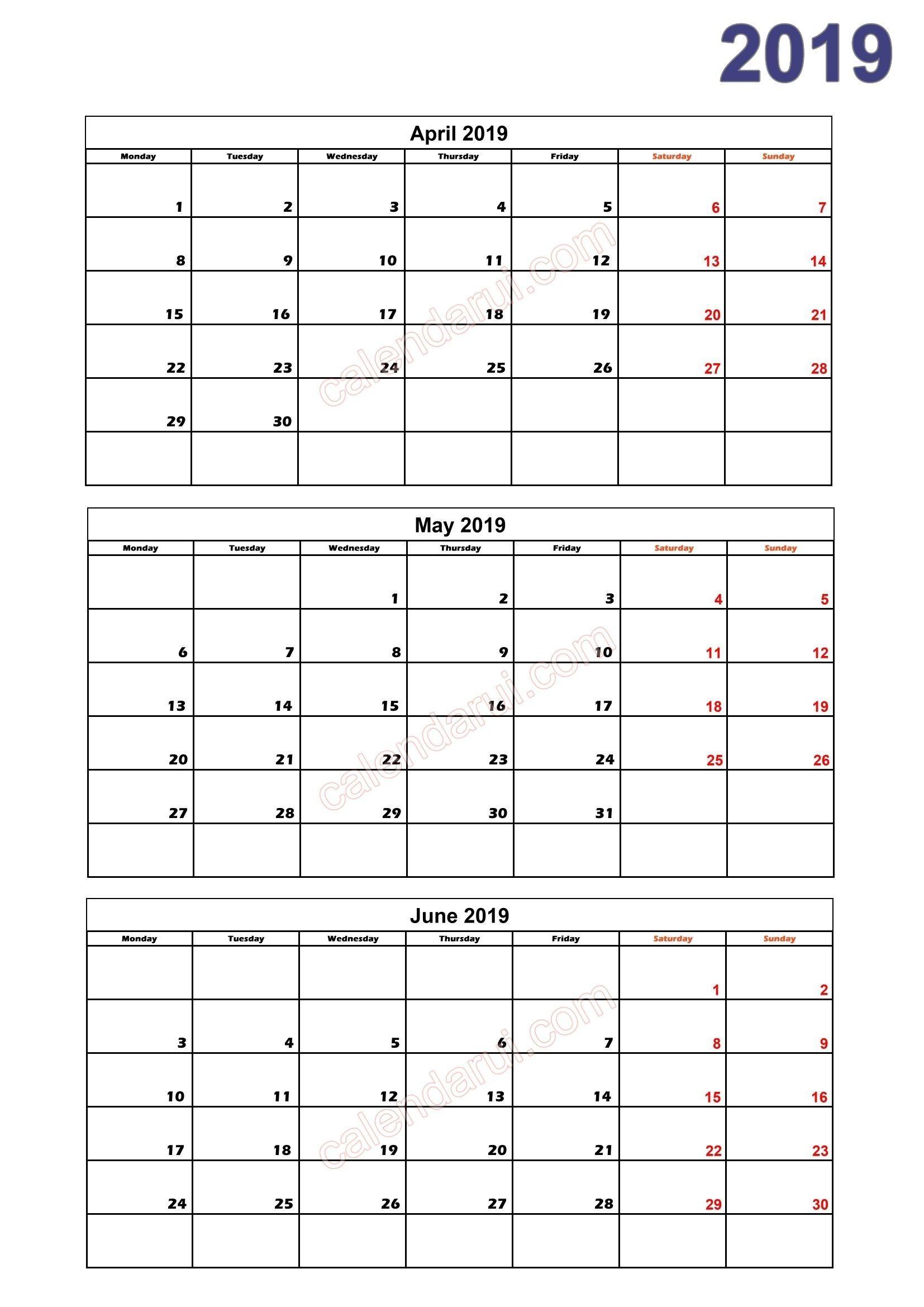 Free Printable Calendar Quarterly In 2020   Calendar 2019
