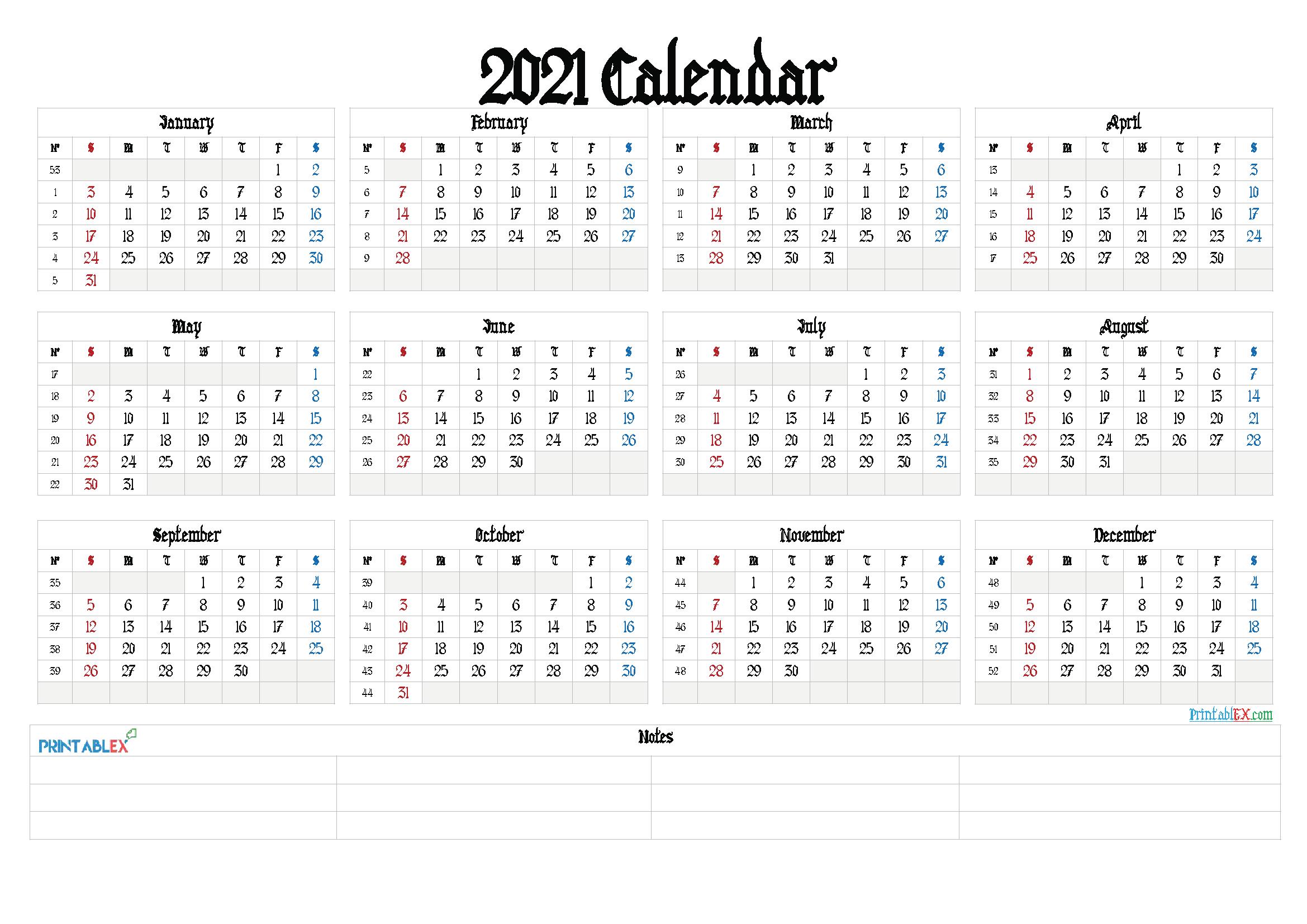 Free Printable Calendar Templates 2021 – Free Printable 2020