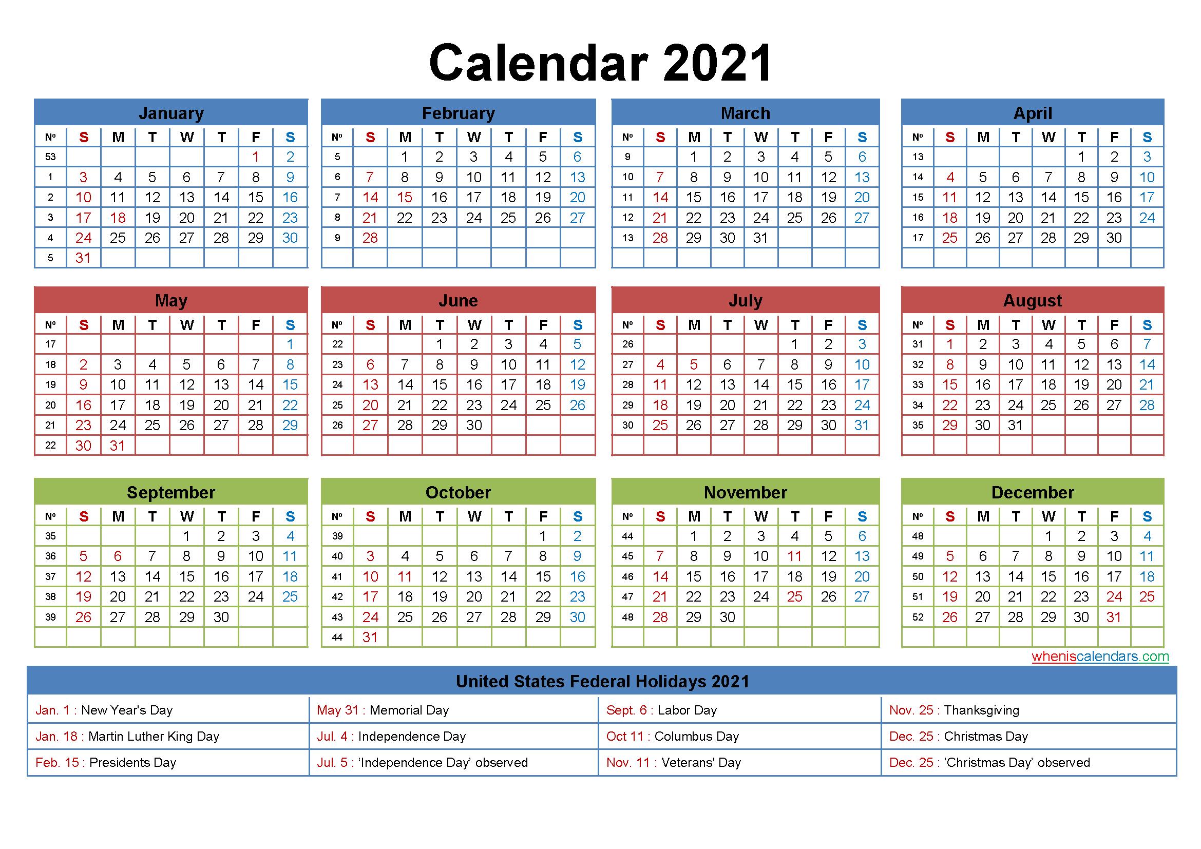 Free Printable Editable Calendar 2021 – Template No.ep21Y22