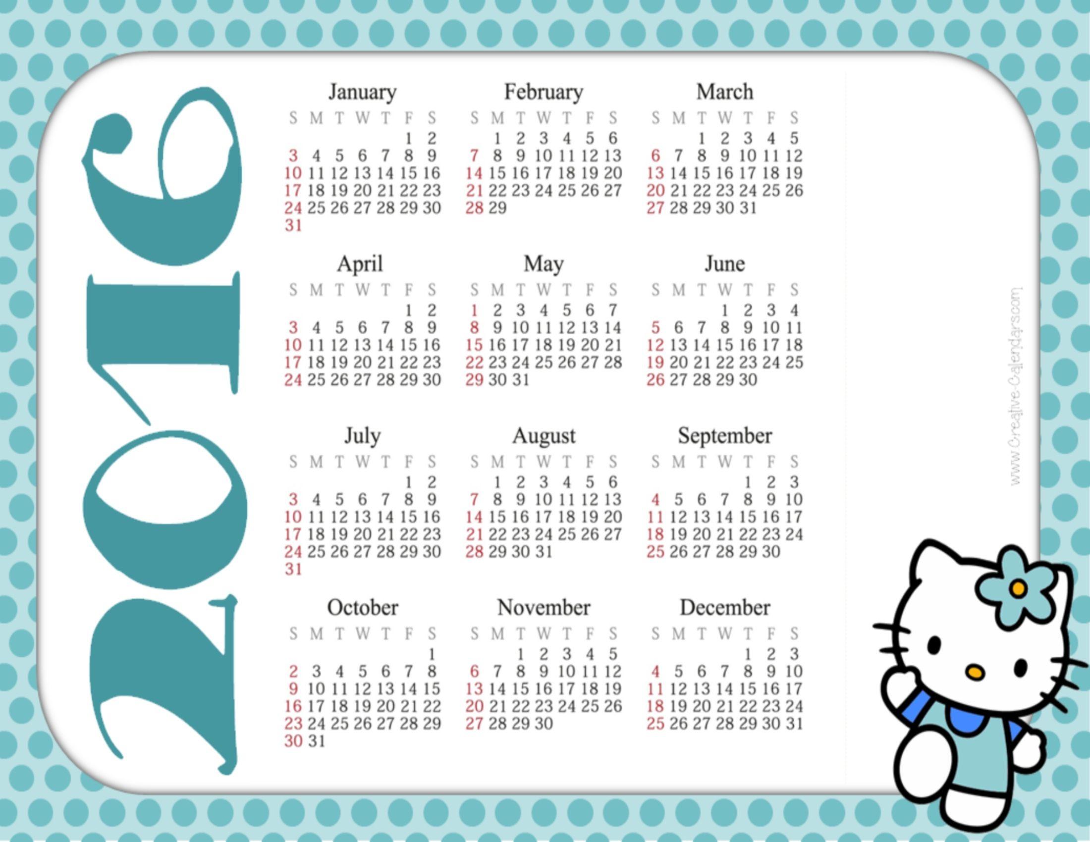 Free Printable Hello Kitty Calendars   Calendar Printables