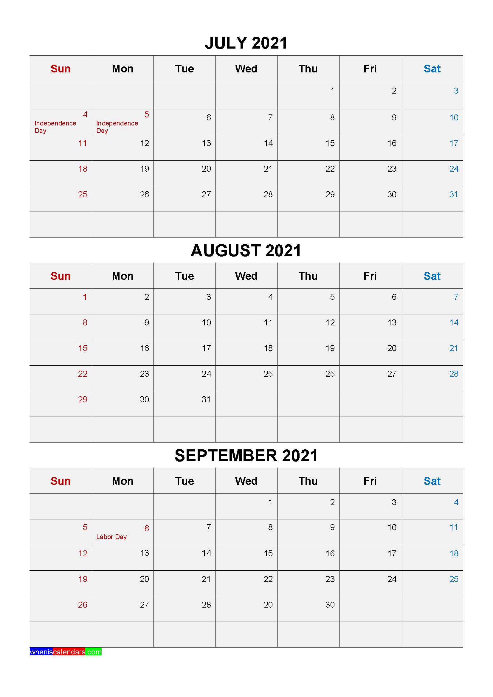 Free Printable July August September 2021 Calendar 3 Months